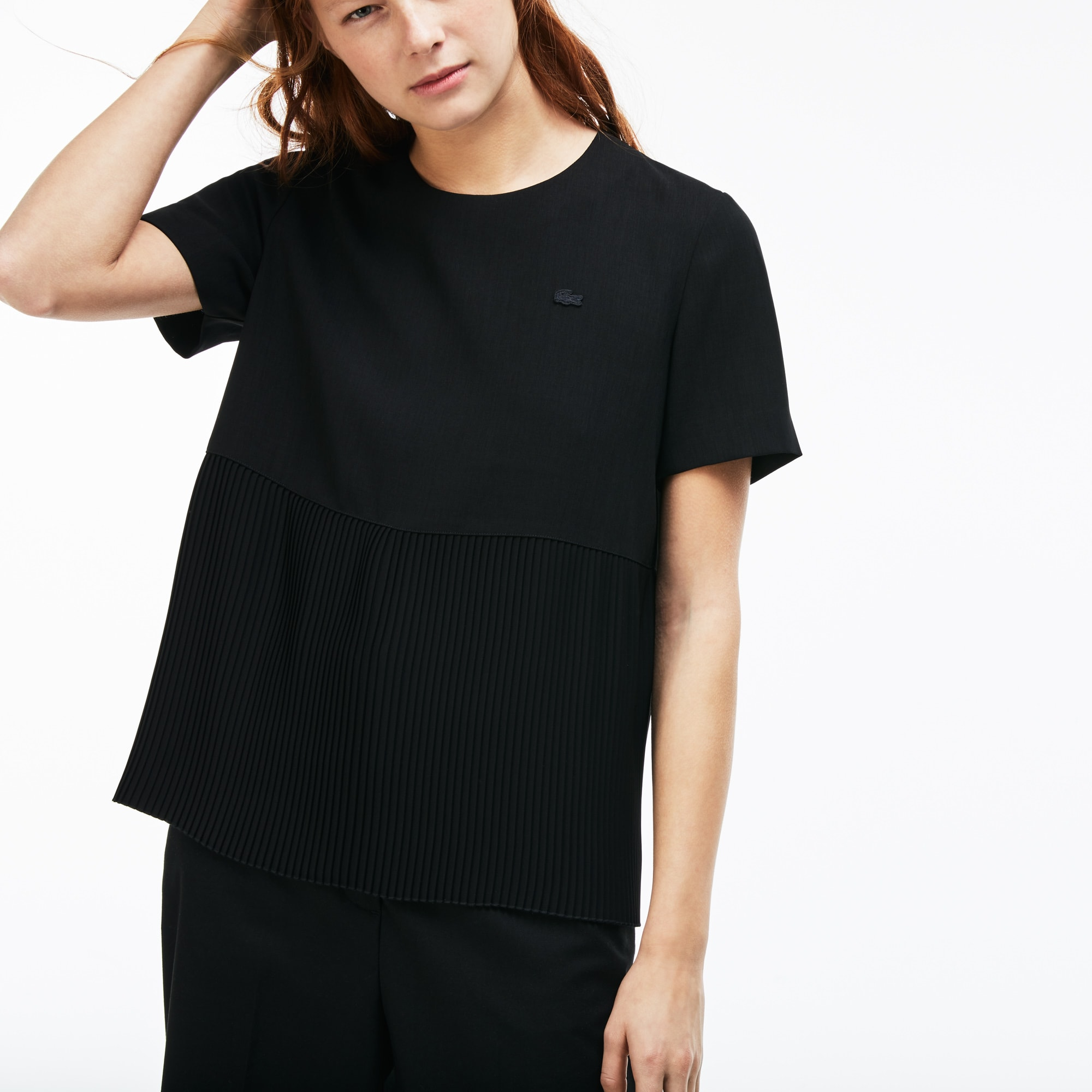Women's Lacoste LIVE Pleated Panel Crepe Loose Top
