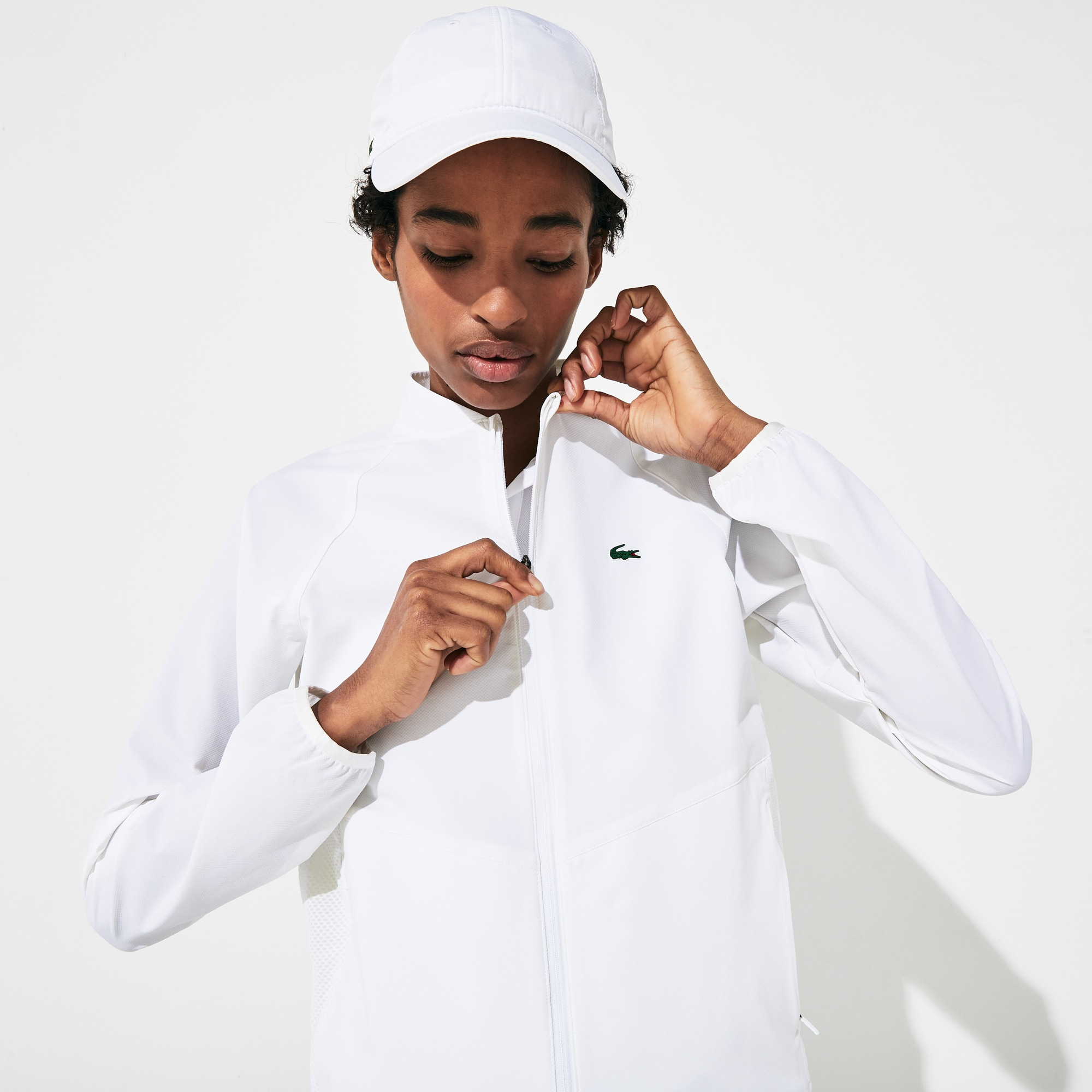 Women's Lacoste SPORT Mesh Panels Water-Resistant Zip Tennis Jacket