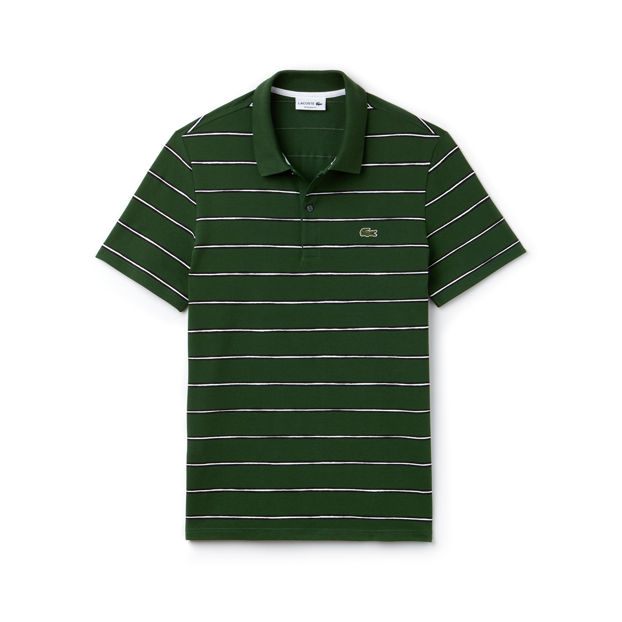 Men's Lacoste Regular Fit Striped Cotton Mini Piqué Polo Shirt
