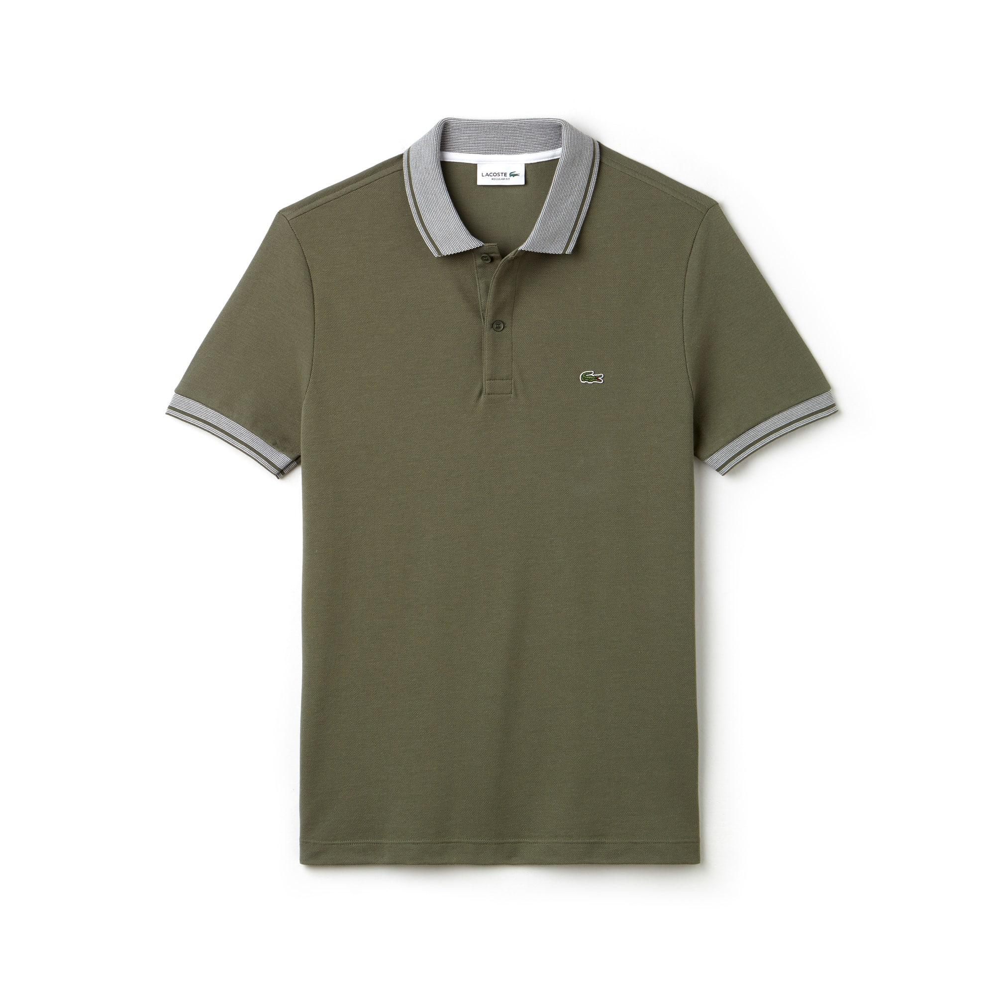 Men's Lacoste Regular Fit Piped Cotton Petit Piqué Polo