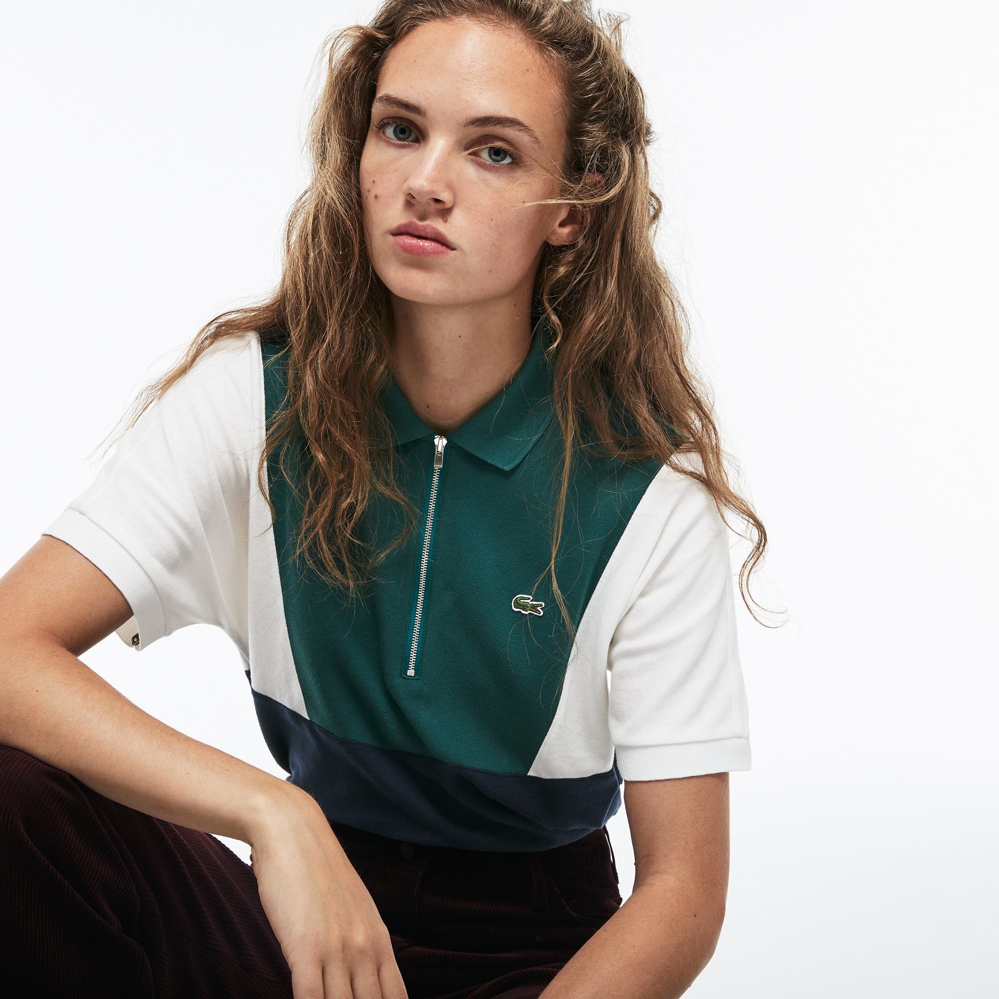 Women's Lacoste Zip Neck Colorblock Terrycloth Piqué Polo Shirt