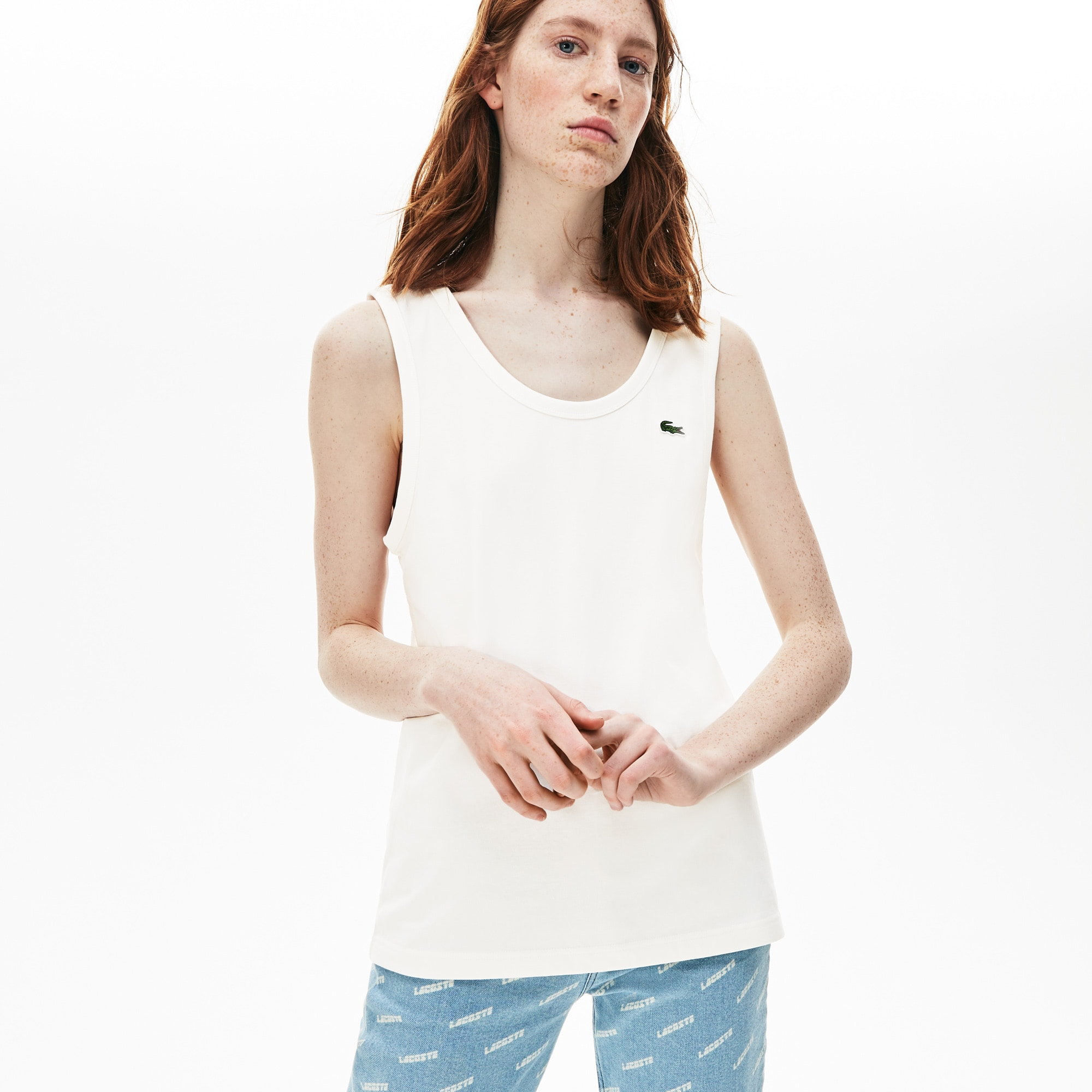 Unisex Lacoste LIVE Pocket Cotton Jersey Tank Top