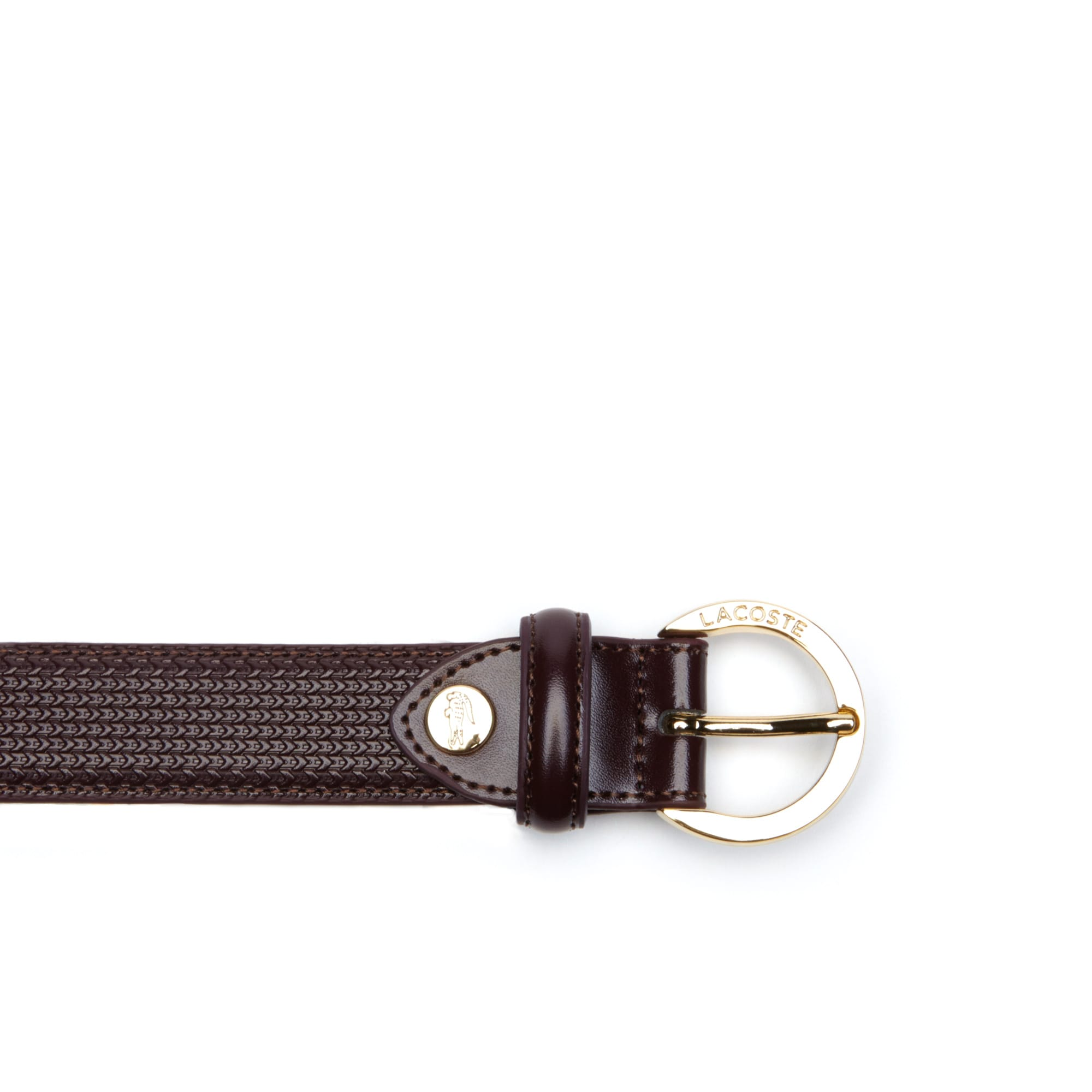 Lacoste - Women's Chantaco Lacoste Engraved Round Buckle Leather Belt - 2