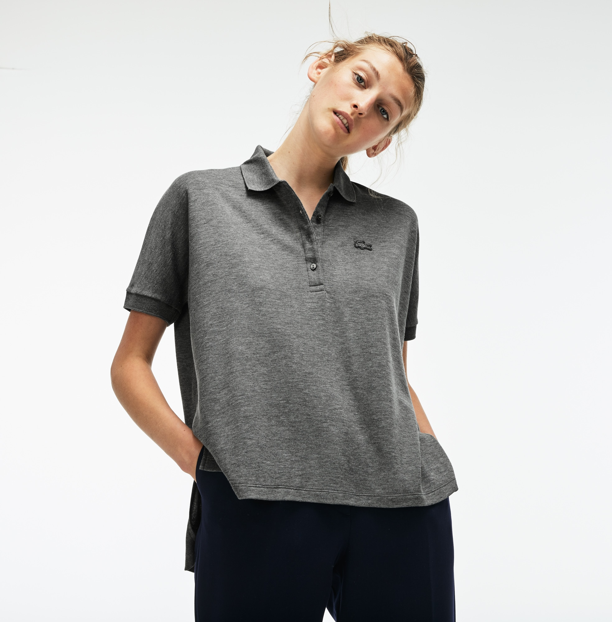 Women's Lacoste Relax Fit Flowing Stretch Cotton Piqué Soft Polo Shirt