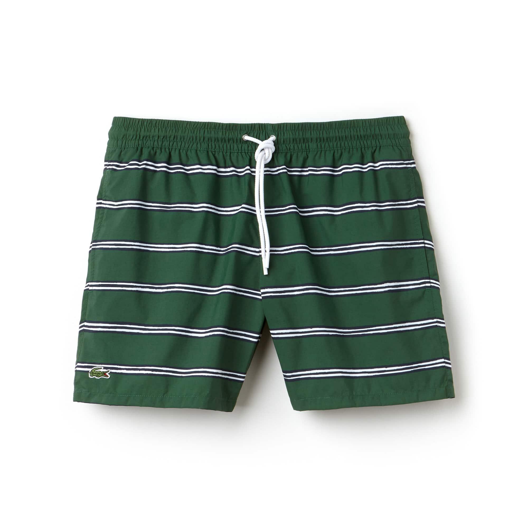Men's Striped Canvas Swimming Trunks