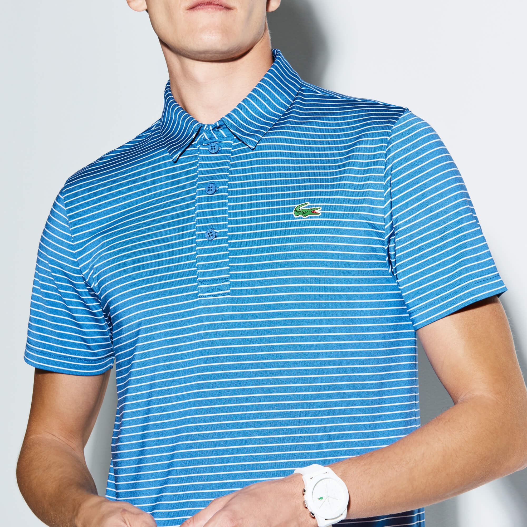 Men's Lacoste SPORT Striped Stretch Technical Jersey Golf Polo Shirt