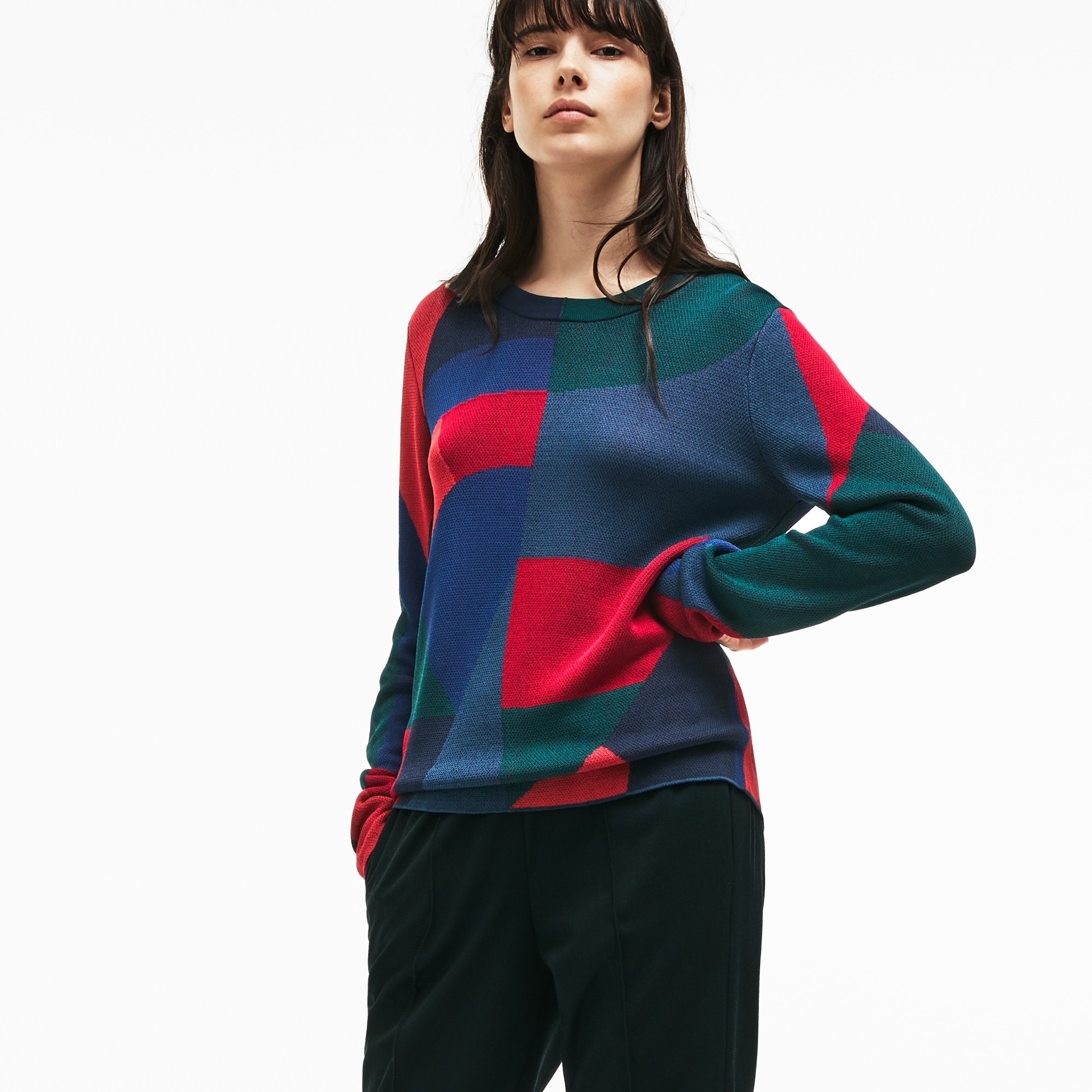 Women's Crew Neck Colorblock Print Jacquard Sweater