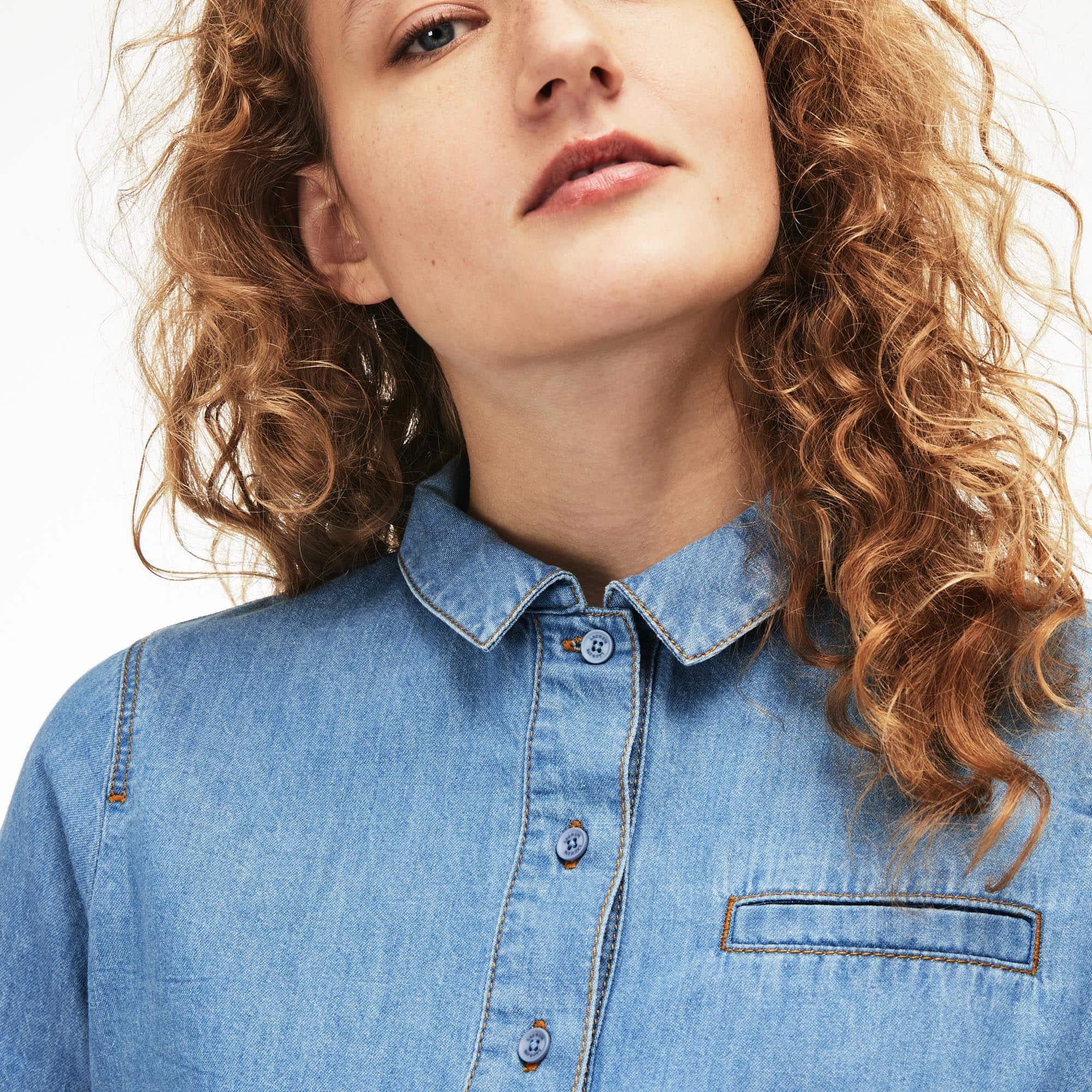51137c181 Women s Polo Shirt Collar Lightweight Denim Shirt