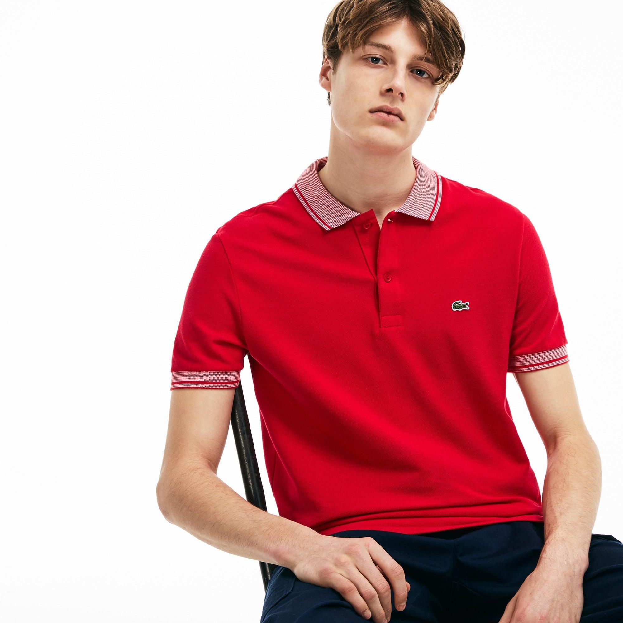 Men's Lacoste Regular Fit Piped Cotton Petit Piqué Polo Shirt