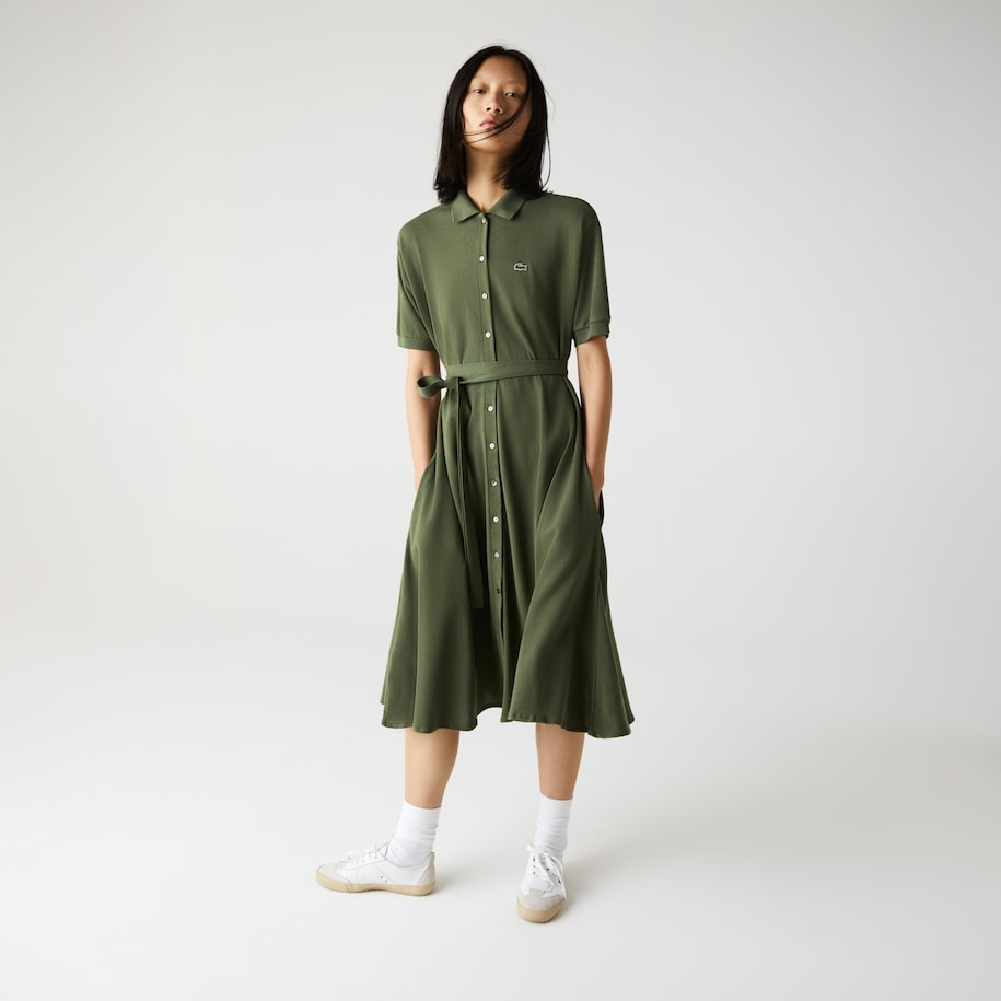 Women's Cotton Piqué Belted Polo Dress