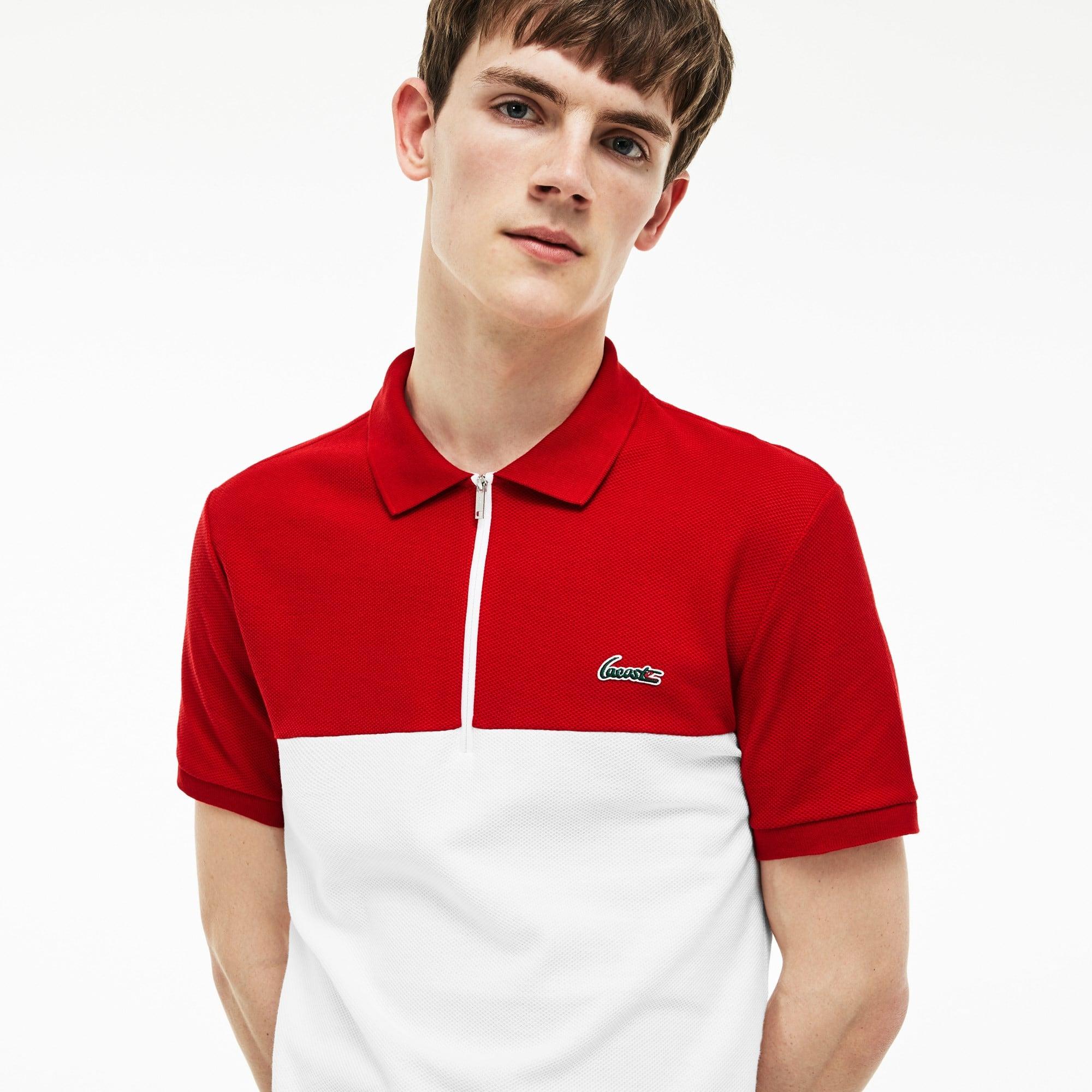 Men's Lacoste Slim Fit Colorblock Honeycomb Cotton Polo Shirt
