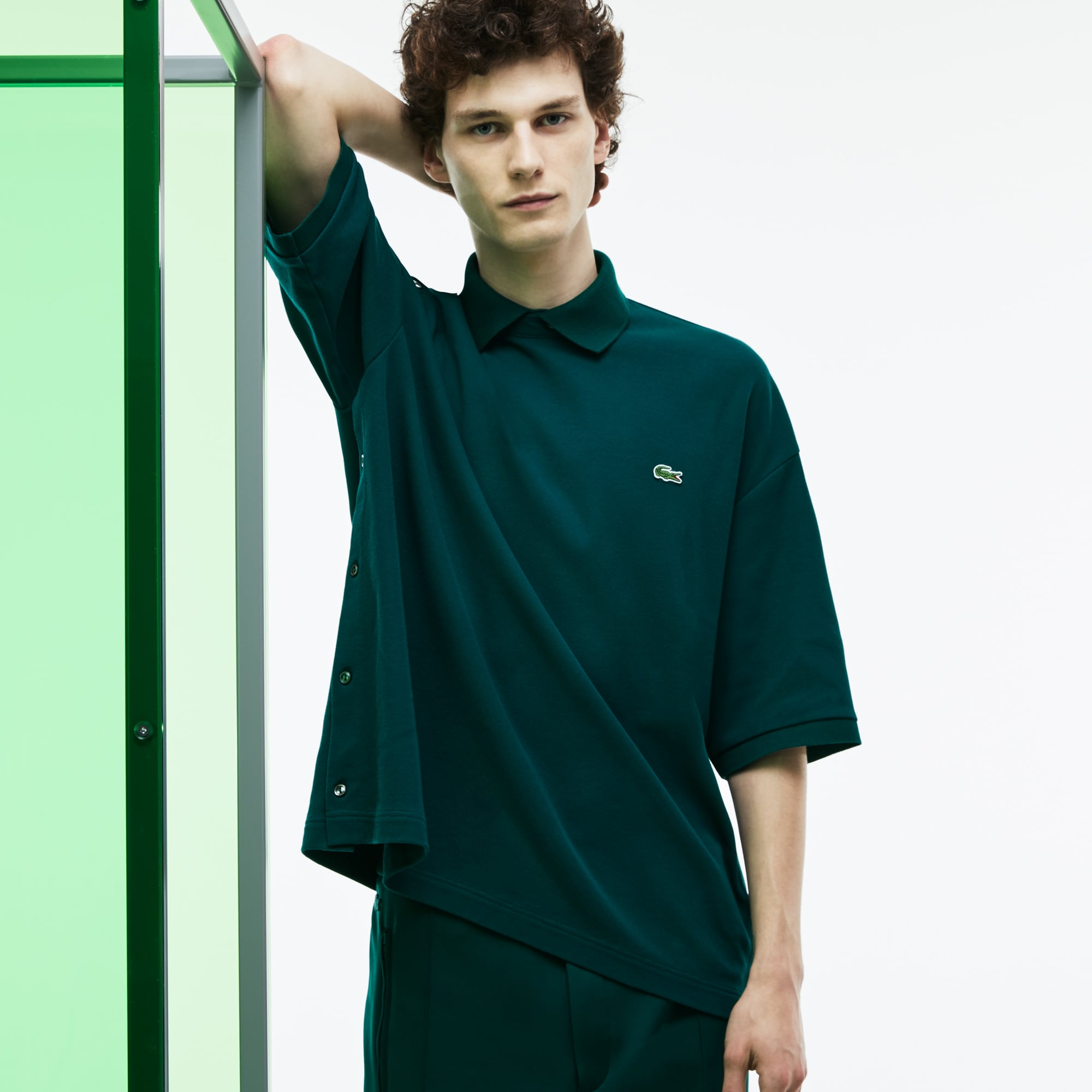 Men's Fashion Show Loose Fit Buttoned Sleeves Polo Shirt