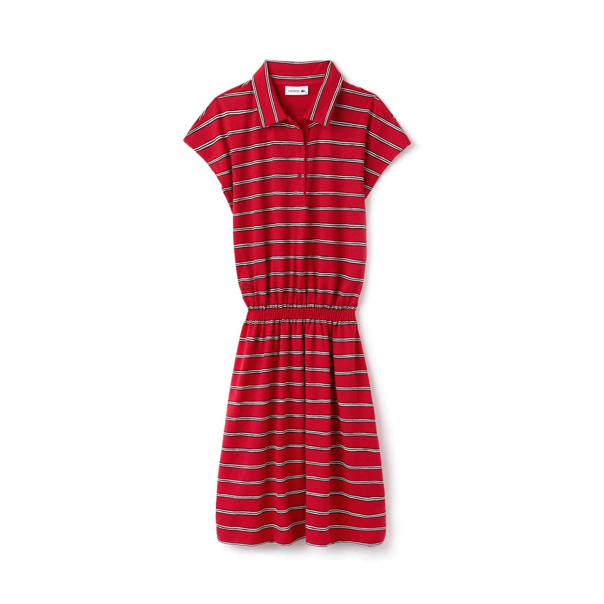 Women's Striped Cotton And Linen Jersey Fitted Polo Dress