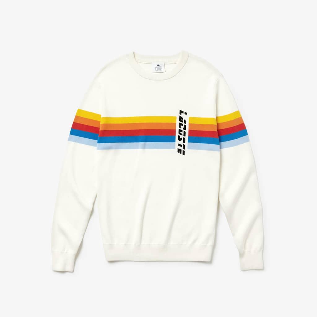 c89cc6e6d Men s Lacoste LIVE Crew Neck Rainbow Striped Cotton Sweater