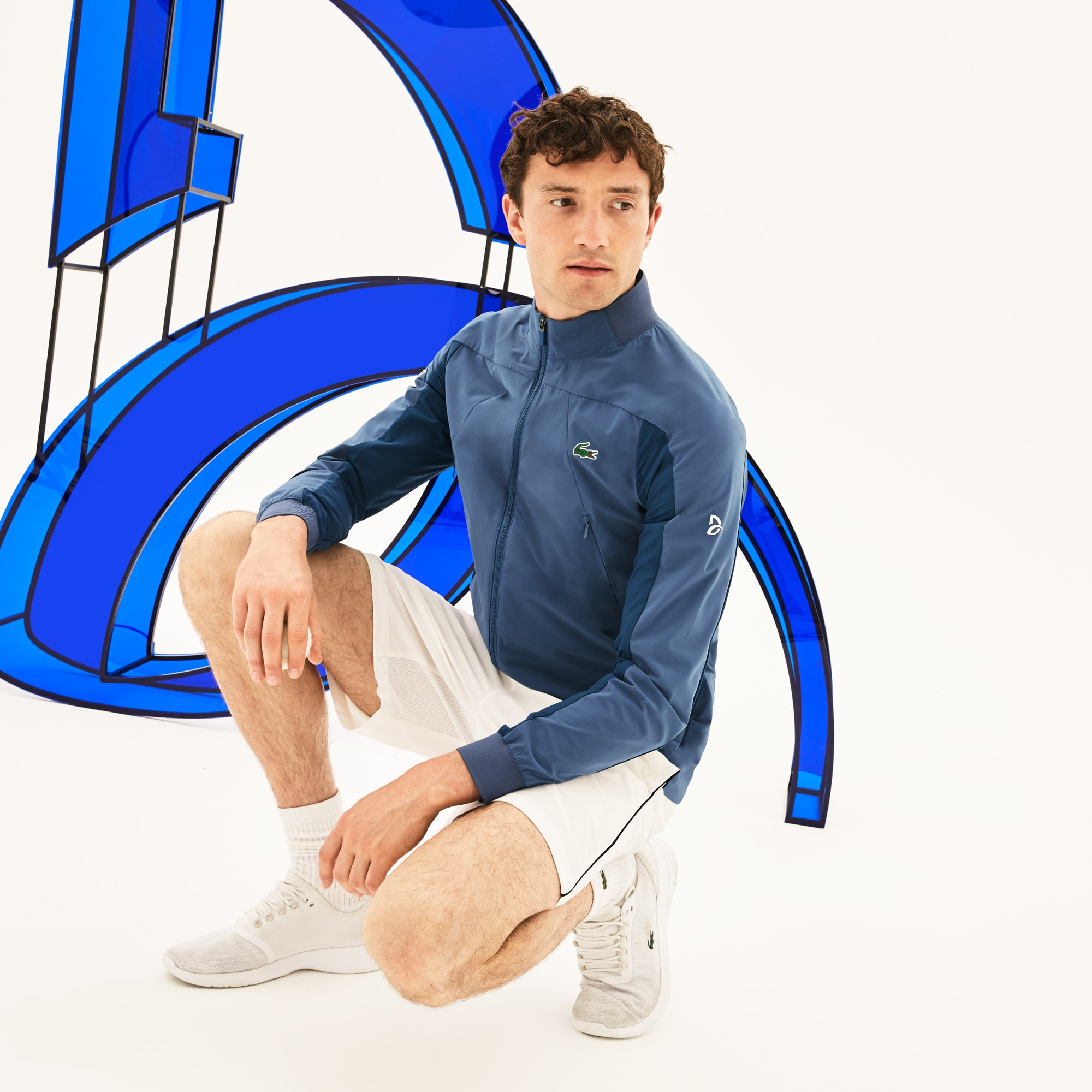Men's Lacoste SPORT Novak Djokovic Support With Style - Off Court Collection Stand-Up Collar Taffeta Jacket