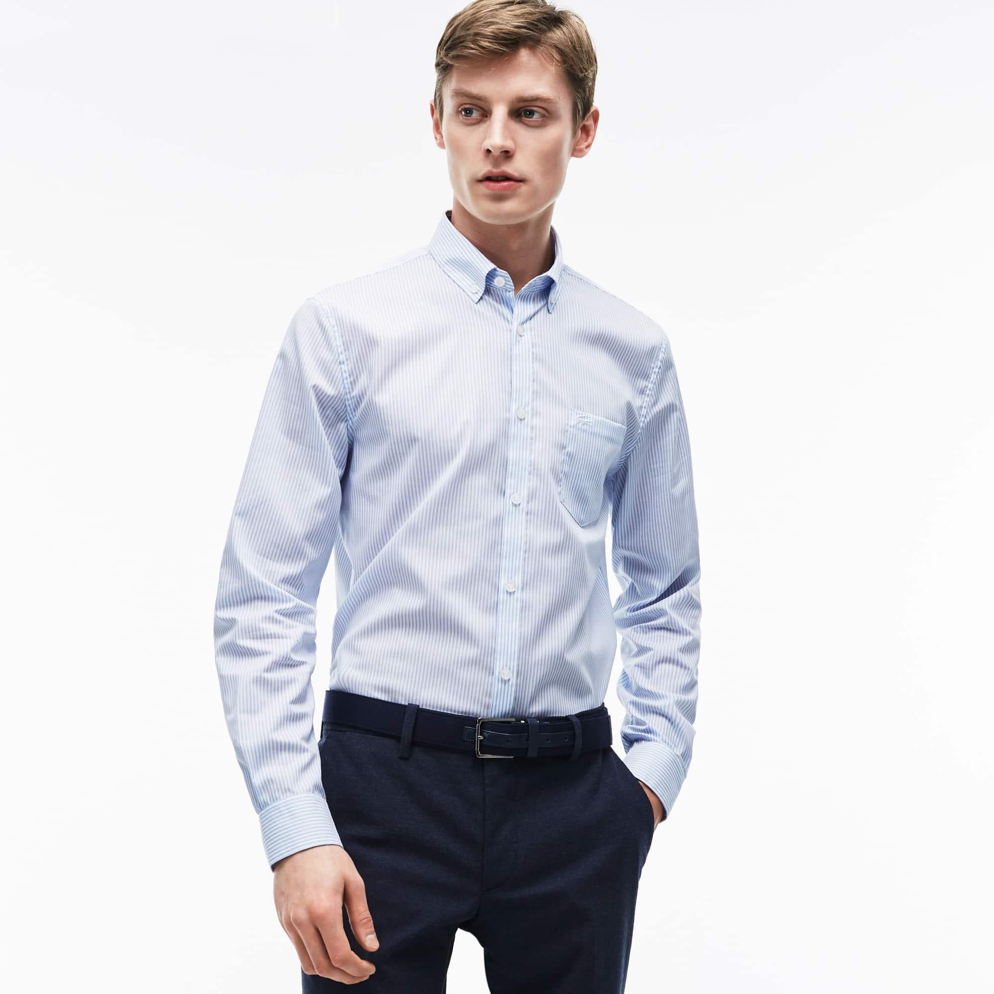 Men's Regular Fit Striped Poplin Shirt