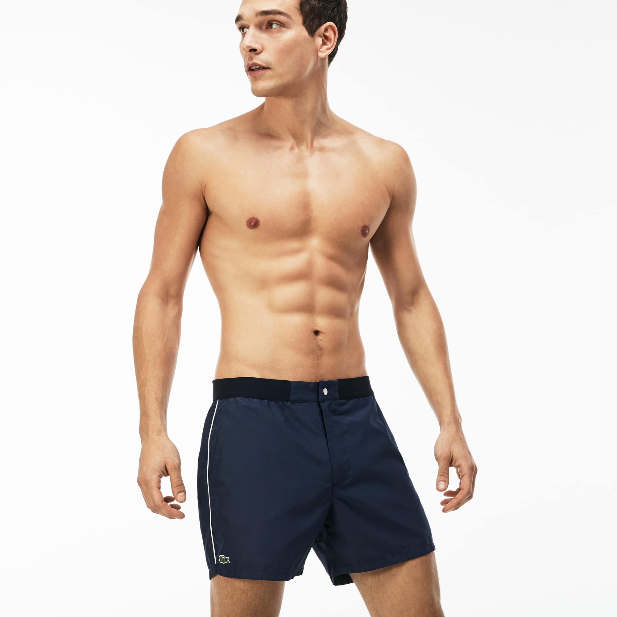 Men's Piped Taffeta Swimming Trunks
