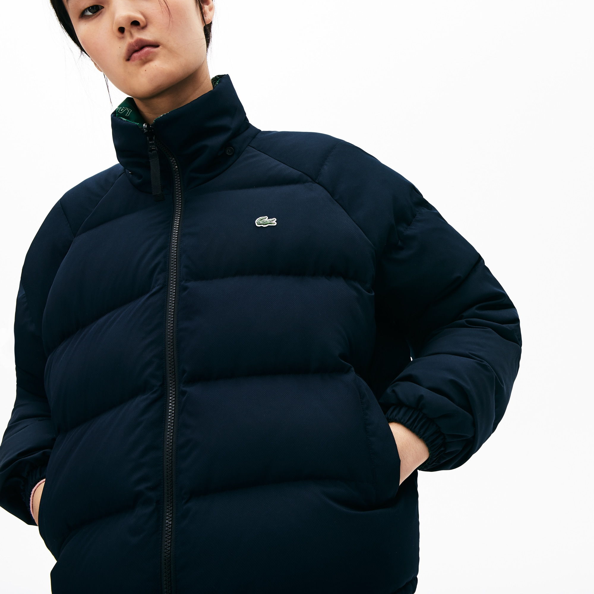 womens-lacoste-live-print-lining-short-reversible-quilted-jacket by lacoste