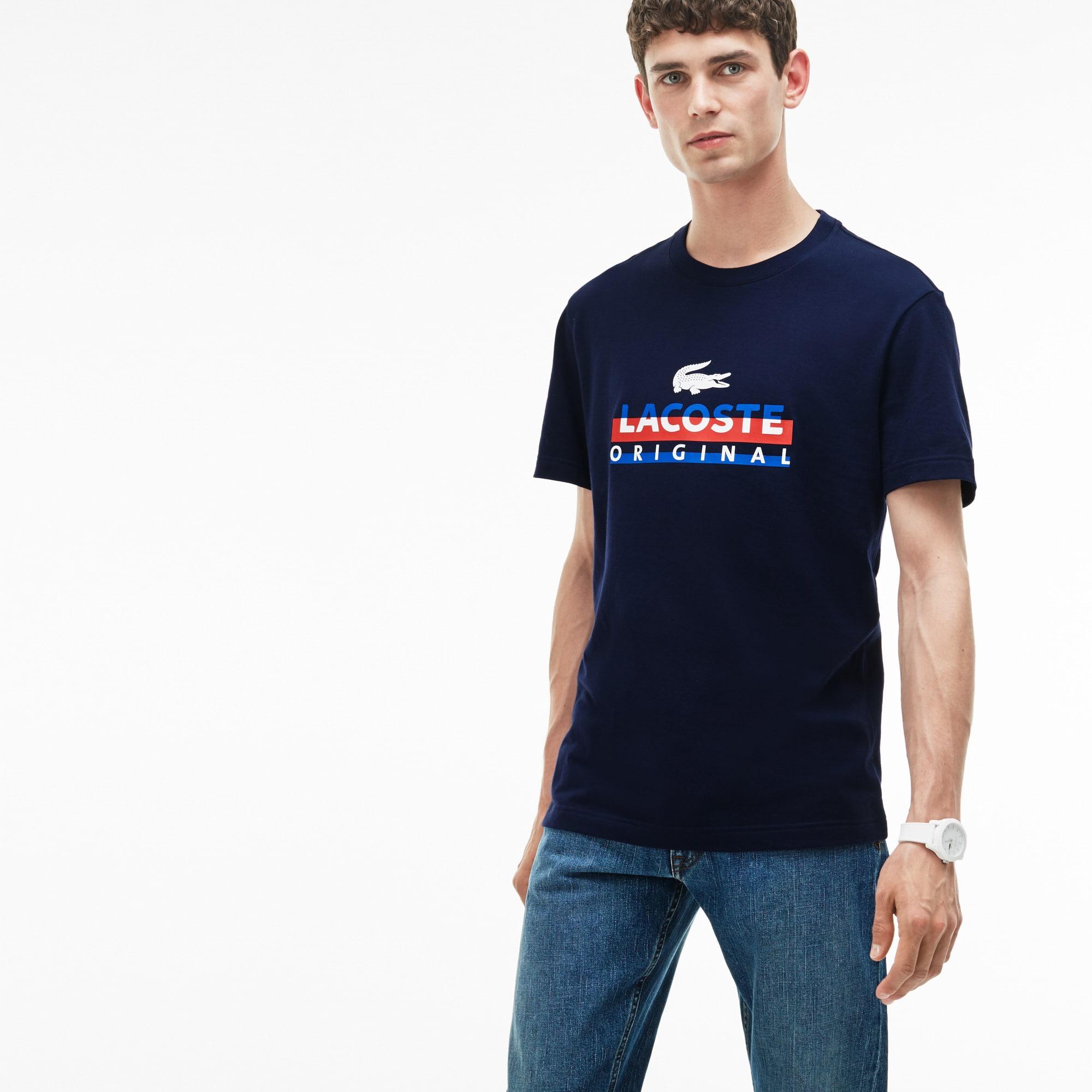 Men's Crew Neck Lettering Print Jersey T-Shirt