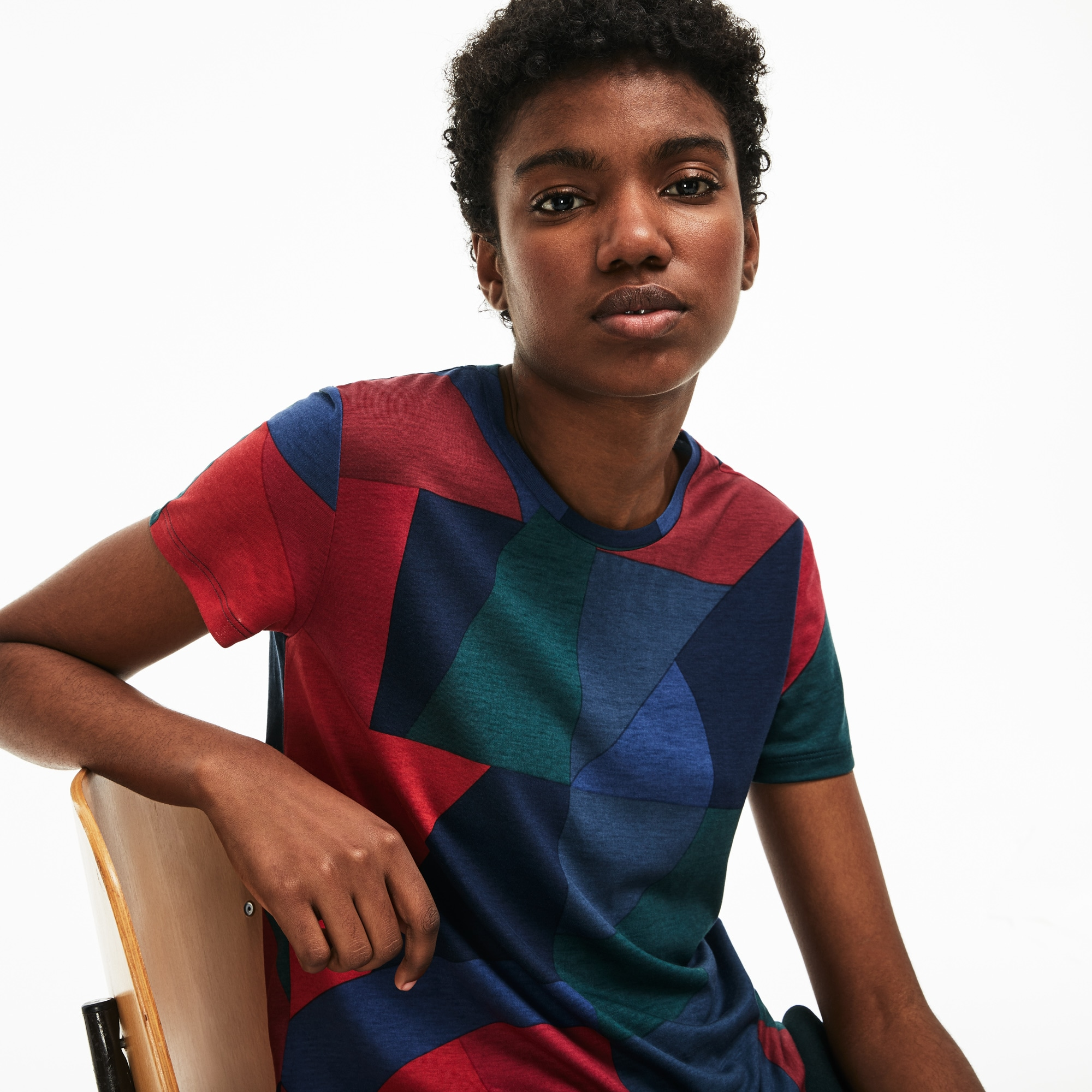 Women's Crew Neck Colorblock Lyocell and Cotton Jersey T-shirt