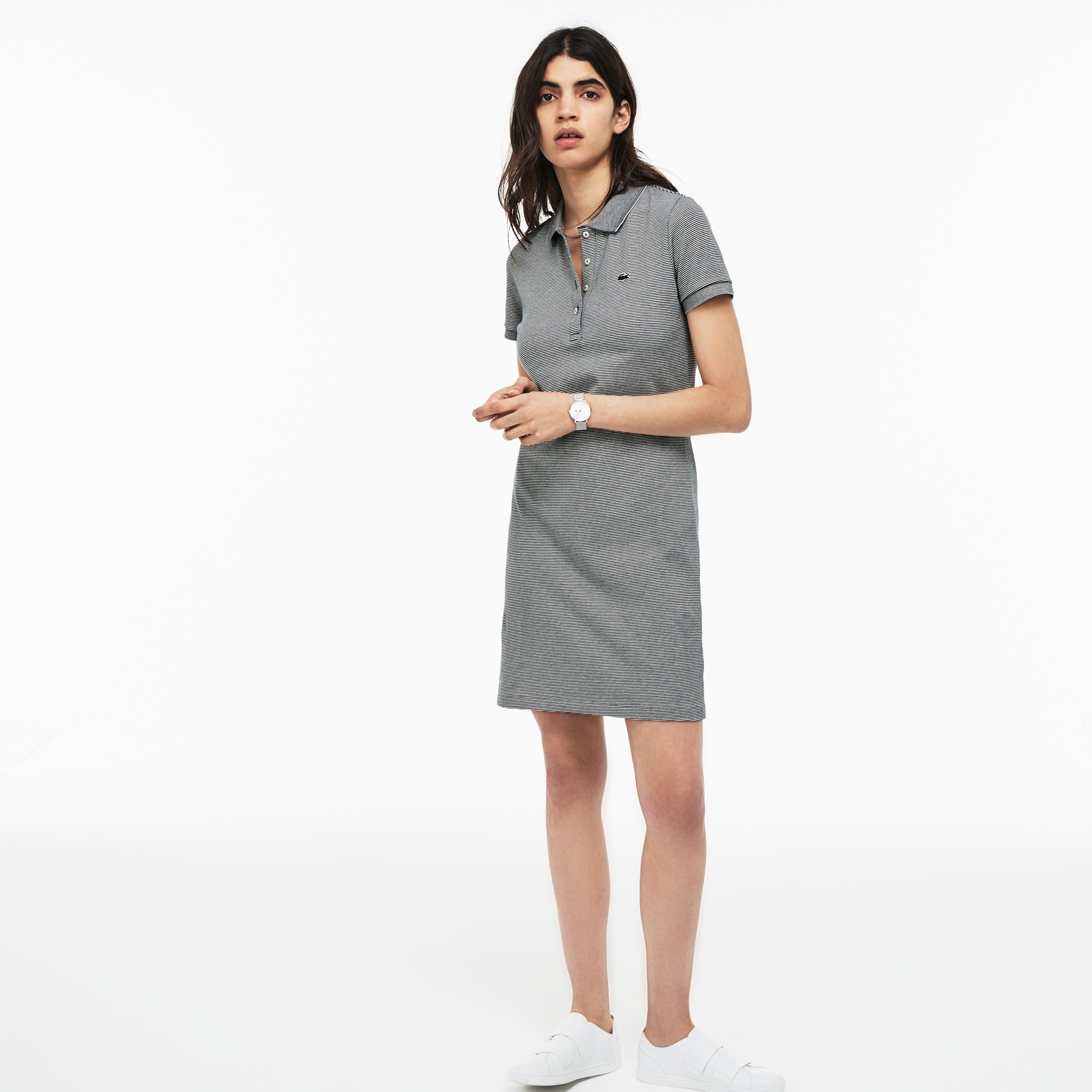 Women's Slim Fit Pinstriped Stretch Mini Piqué Polo Dress