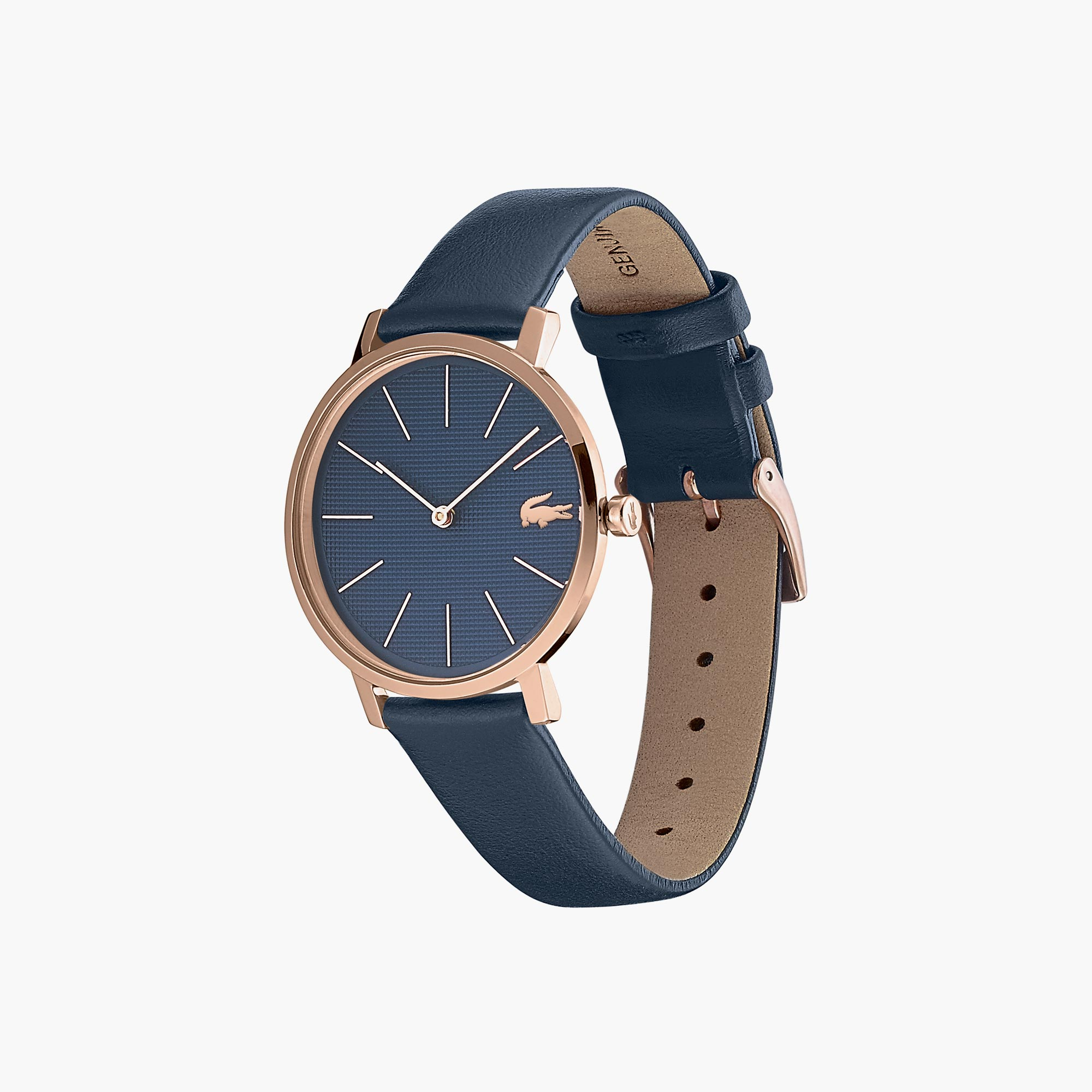 Ladies Moon Watch with Blue Leather Strap and Blue Dial