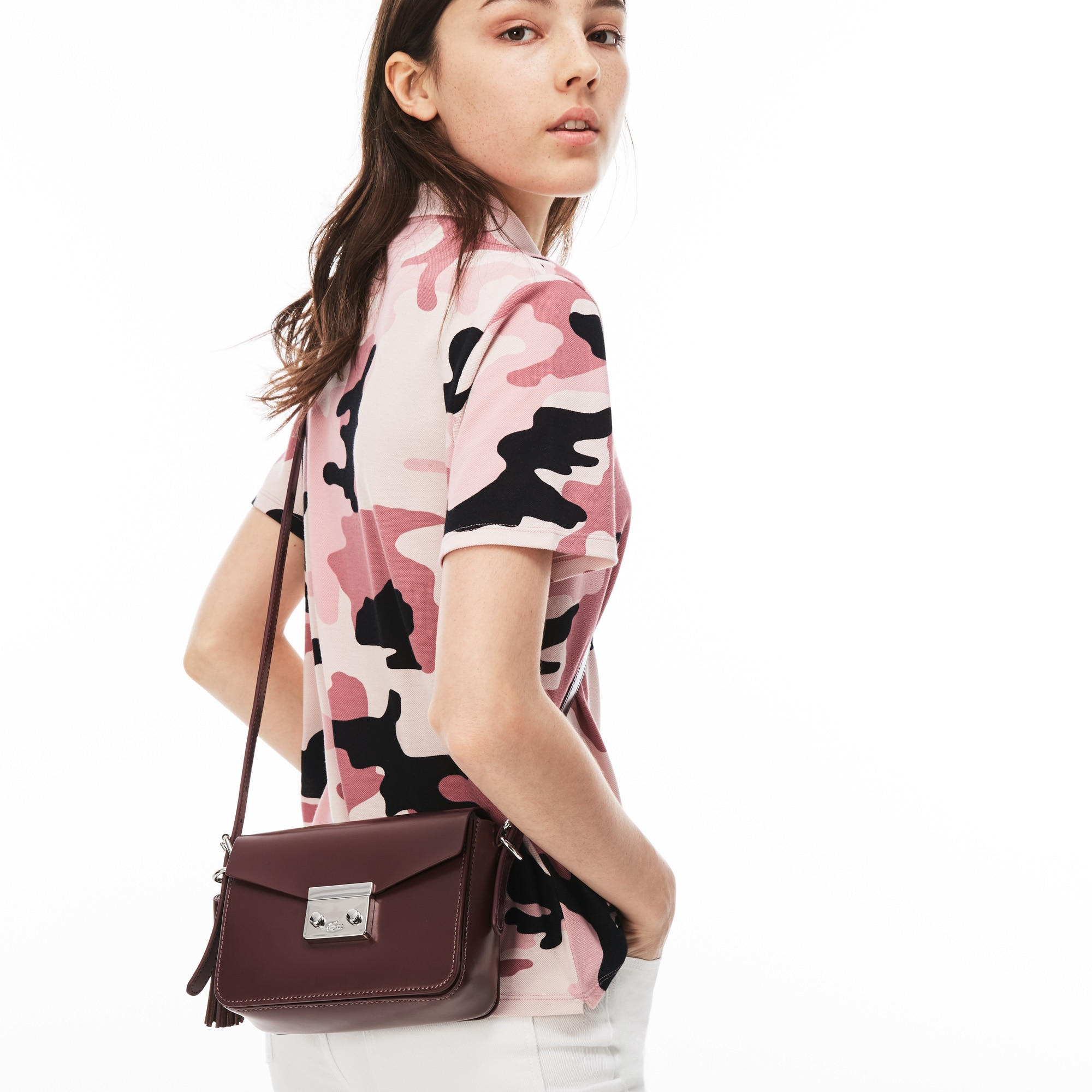 Women's Street Live Coated Leather Square Flap Crossover Bag