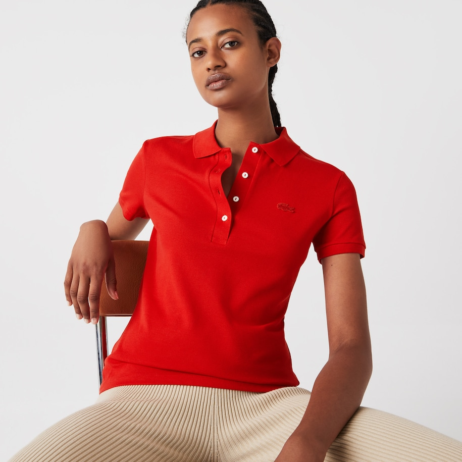 Women's Lacoste Slim fit Stretch Cotton Piqué Polo Shirt