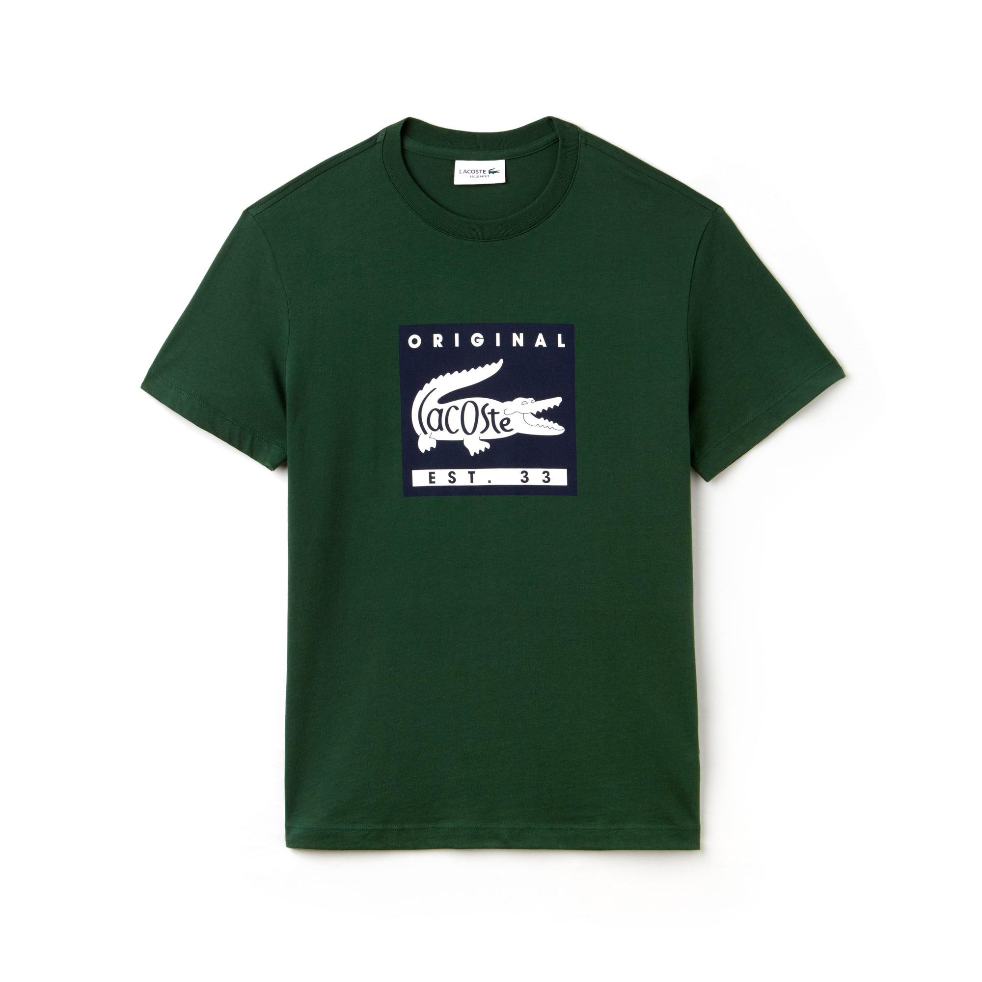 754b403b7e7 Men s Crew Neck Lacoste Original Lettering Jersey T-shirt ...