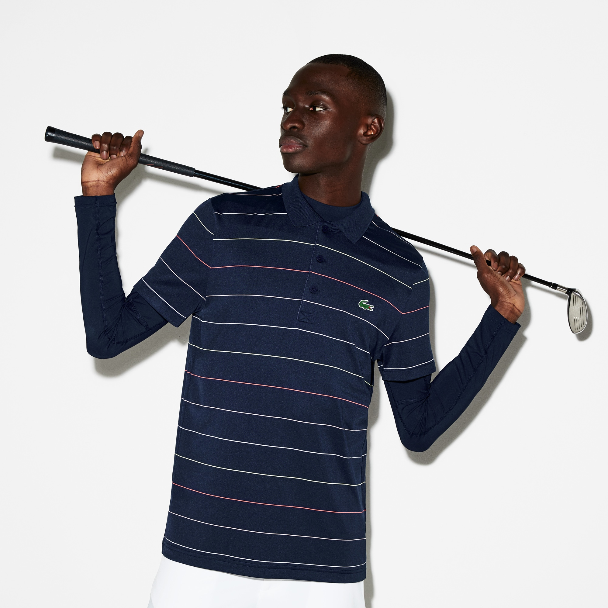 1e16ac92 Men's Lacoste SPORT Striped Technical Jersey Golf Polo Shirt | LACOSTE