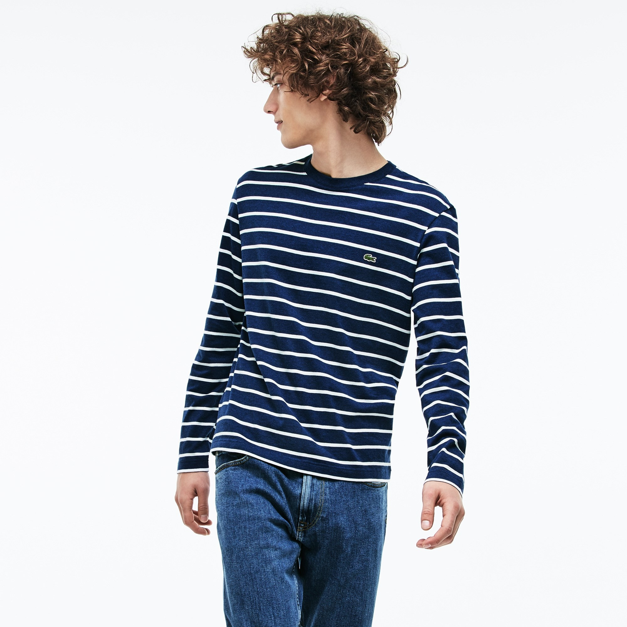 Men's Crew Neck Striped Jersey T-shirt