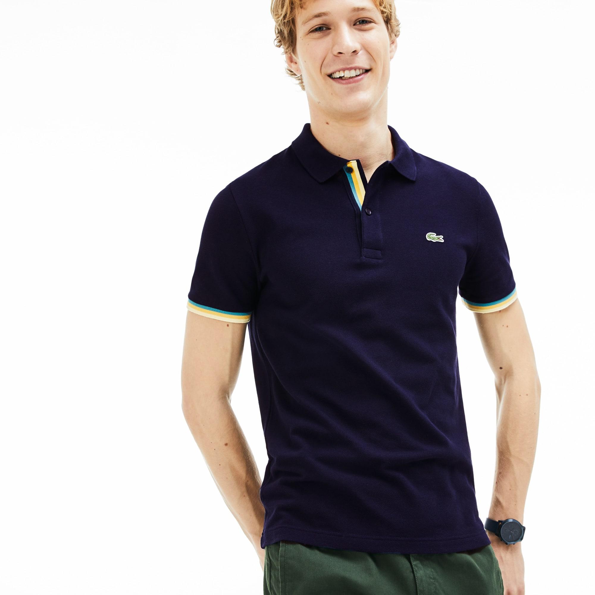 0cb7bce7e Men's Lacoste Slim Fit Piped Sleeves Petit Piqué Polo Shirt | LACOSTE