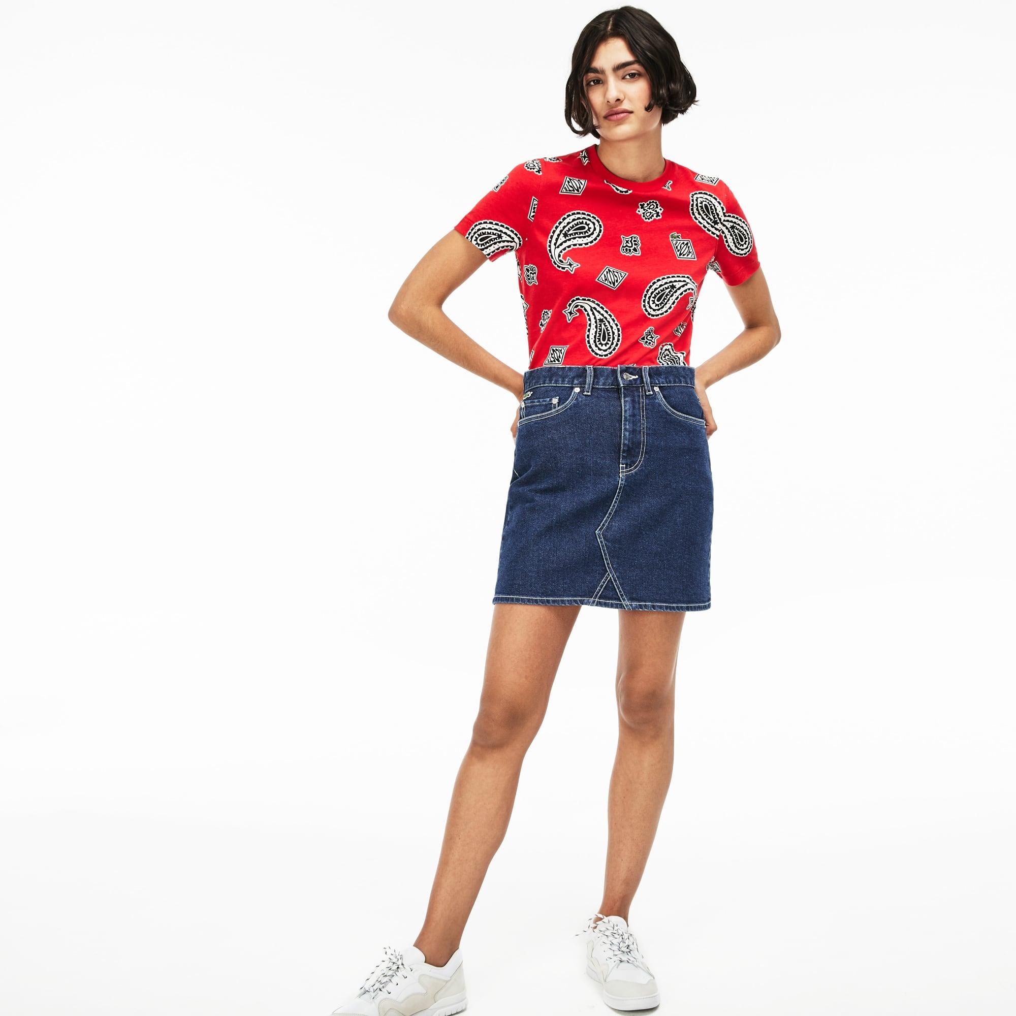 8cf0b6ed95cc Women s Lacoste LIVE Contrast Overstitching Denim Skirt