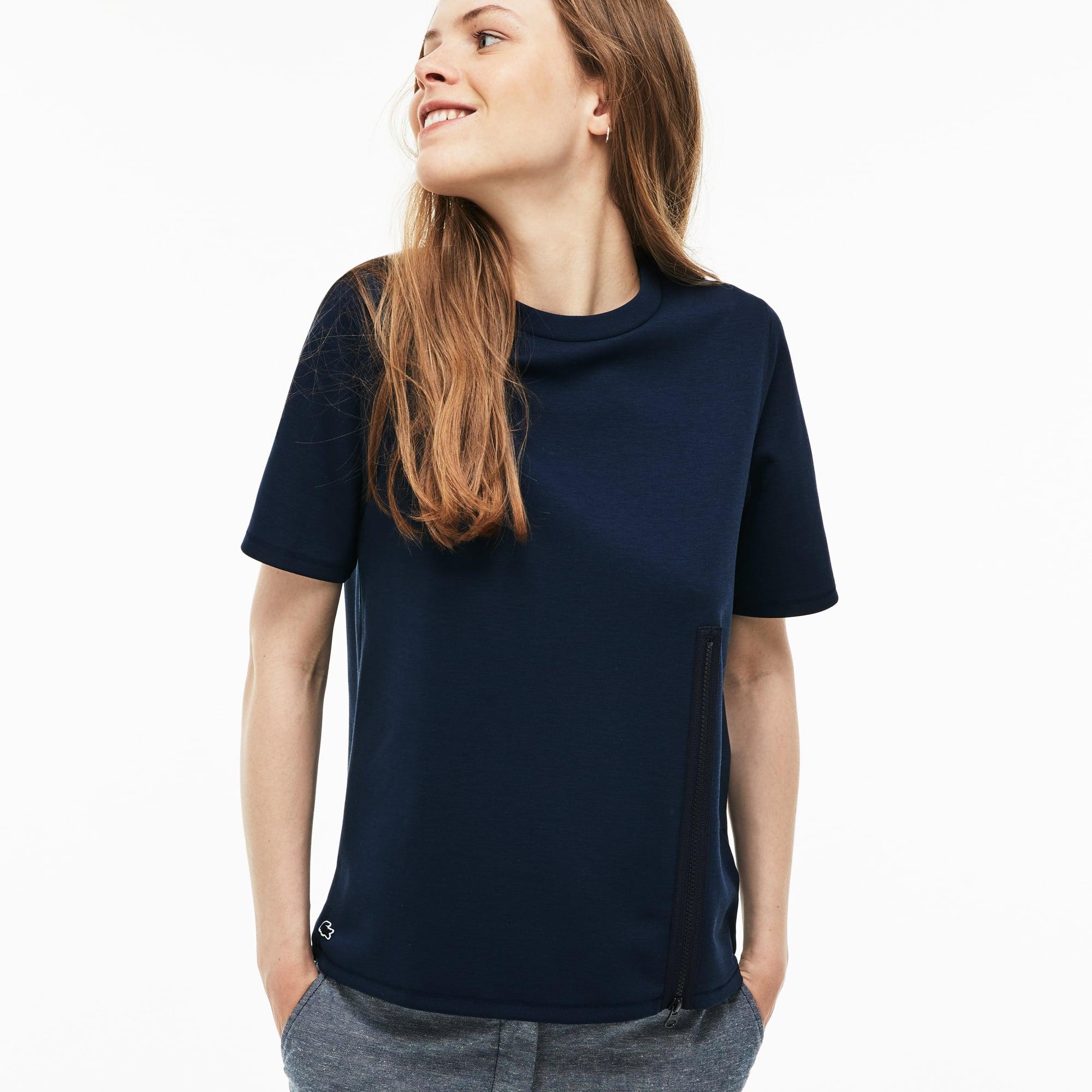 Women's Lacoste LIVE Crew Neck Jersey Zip T-shirt