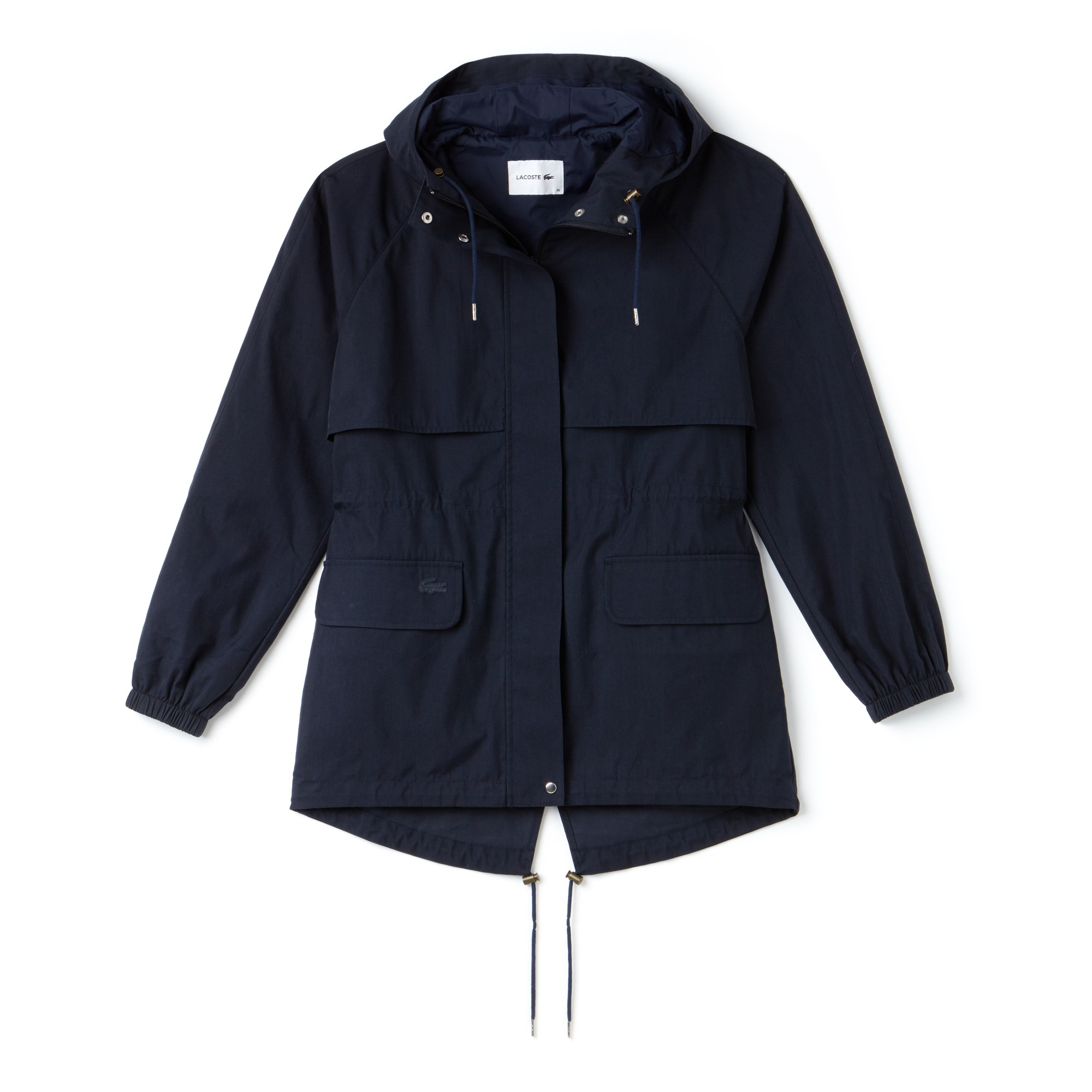 Women's Hooded Long Cotton Twill Windbreaker
