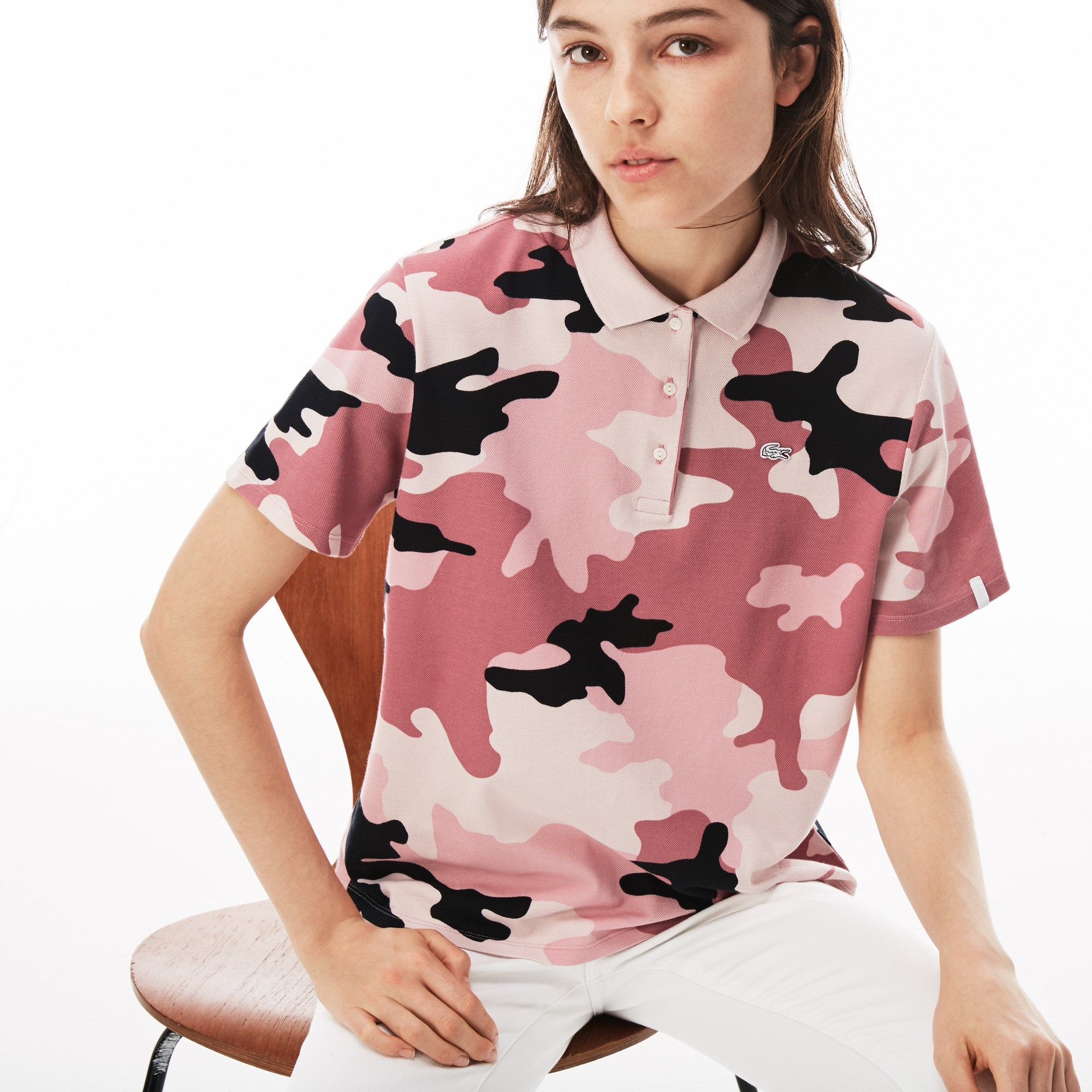 Women's Lacoste LIVE Loose Fit Camouflage Print Mini Piqué Polo