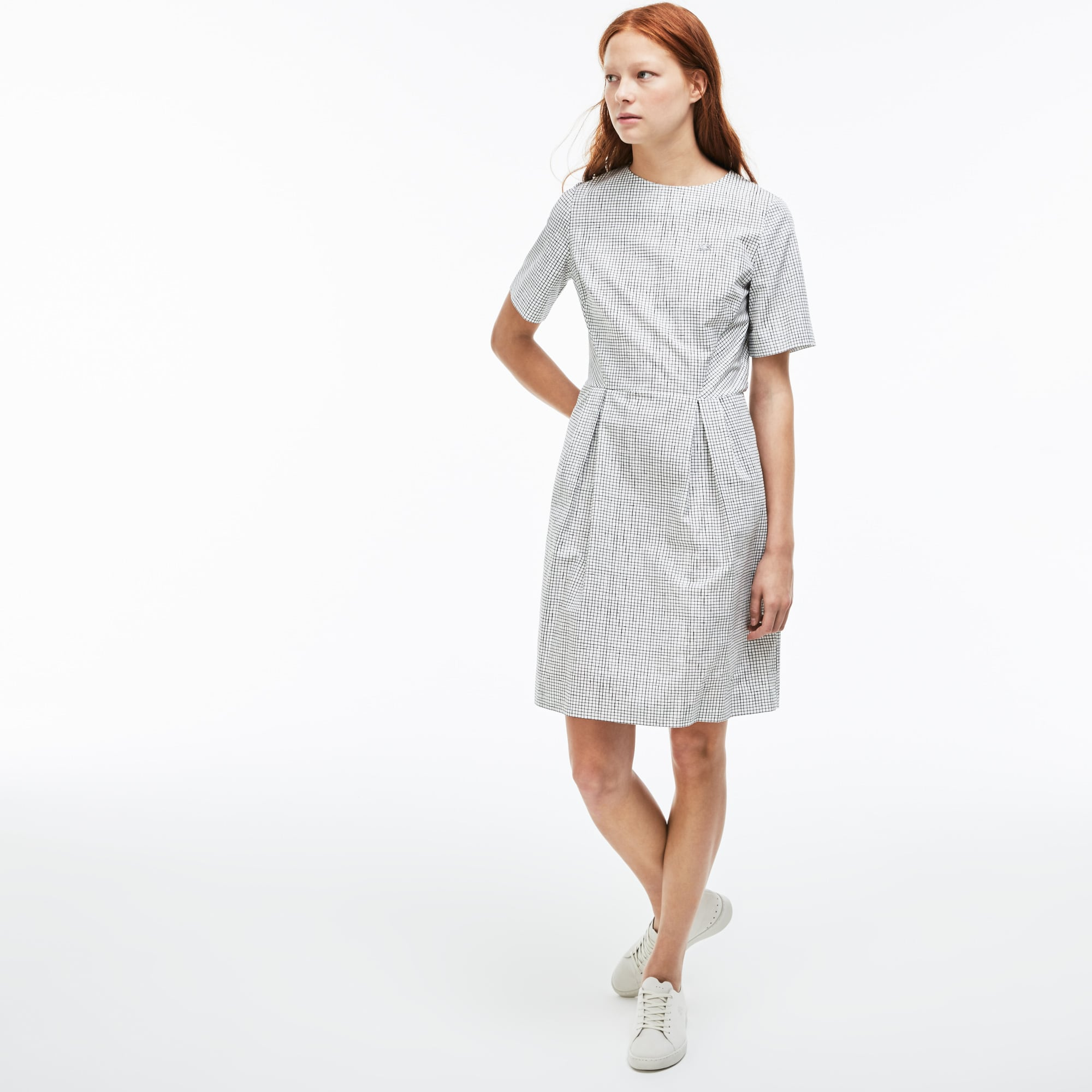 Women's Lacoste LIVE Pleated Mini Check Poplin A-Line Dress