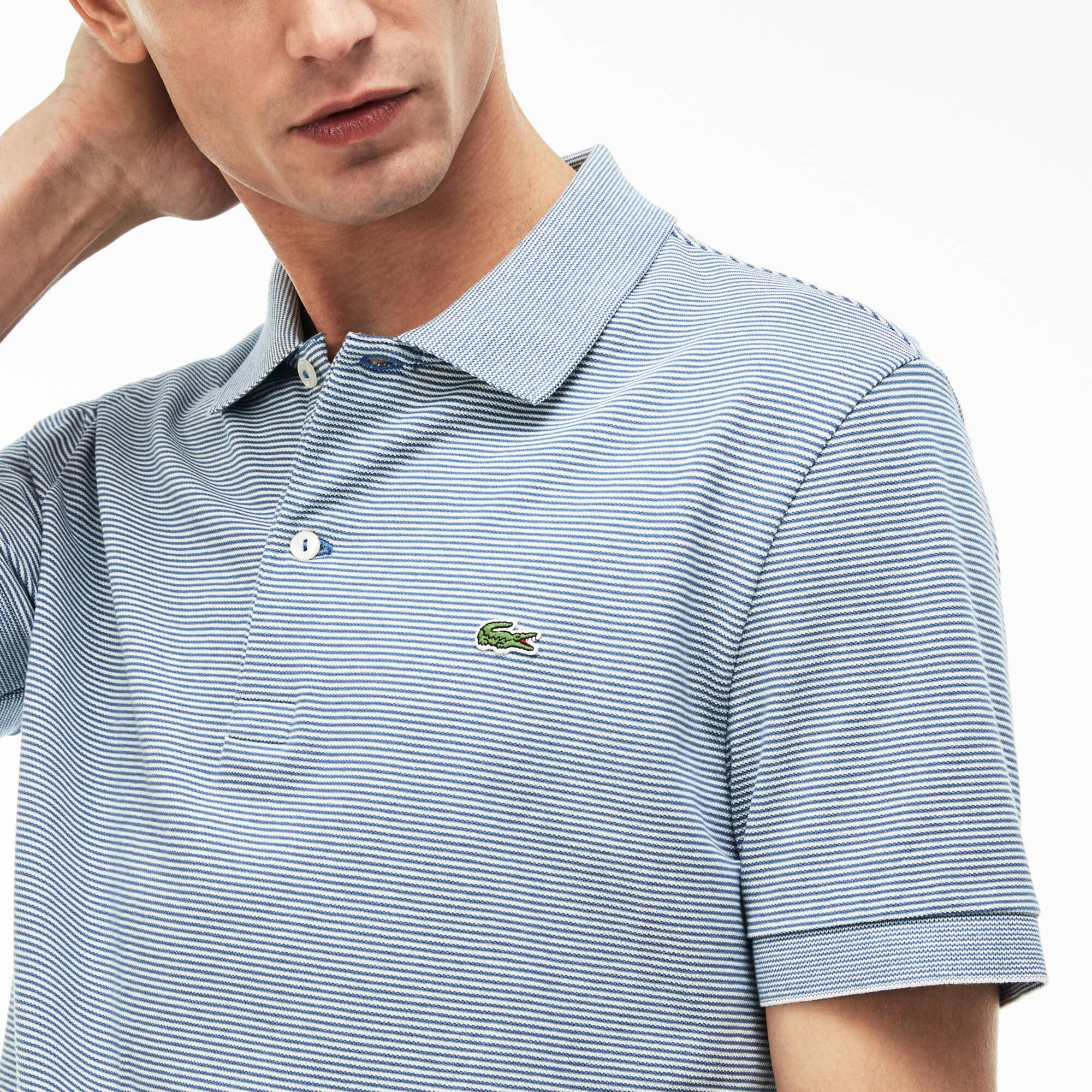 6dce688da0dc8 Men's Lacoste Regular Fit Striped Mini Piqué Polo ...