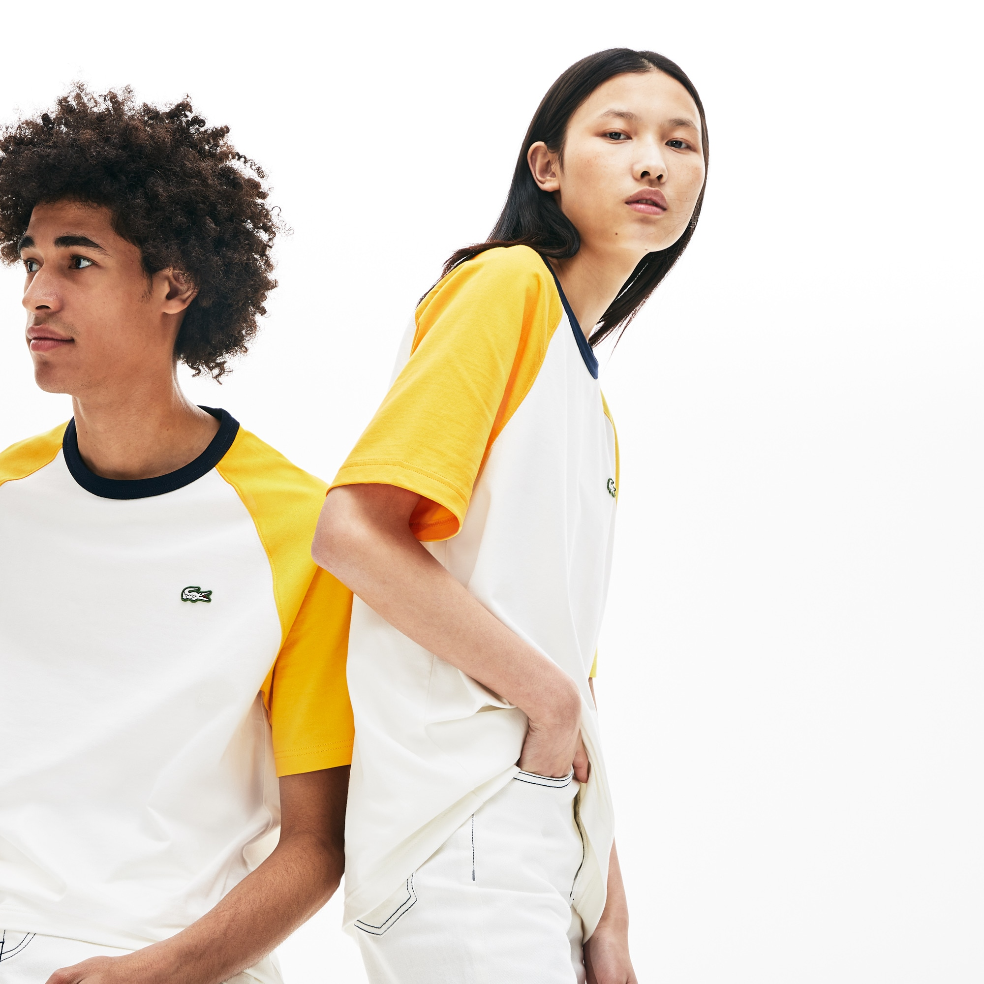Unisex Lacoste LIVE Crew Neck Colourblock Cotton T-shirt