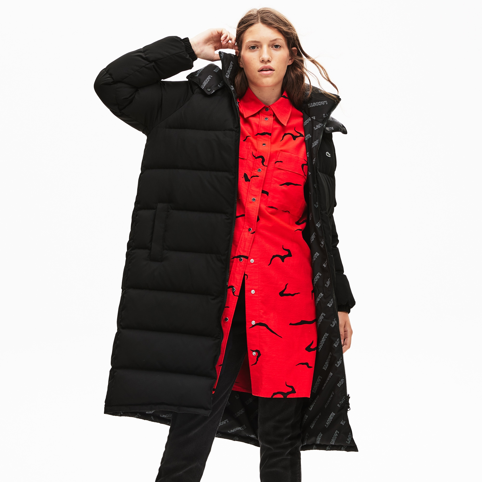 15576dfed3 Women's Lacoste LIVE Print Lining Long Reversible Quilted Jacket
