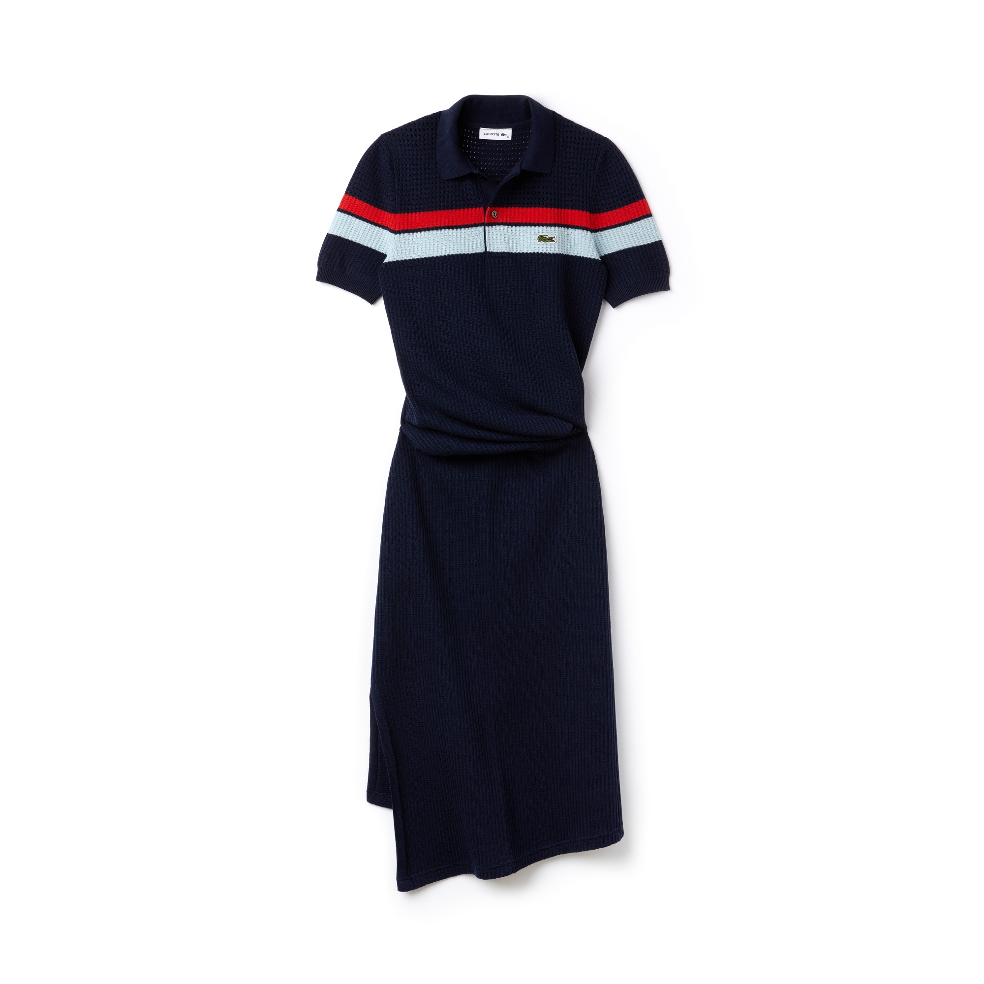 Women's Fashion Show Striped Cotton Knit Twisted Polo Dress