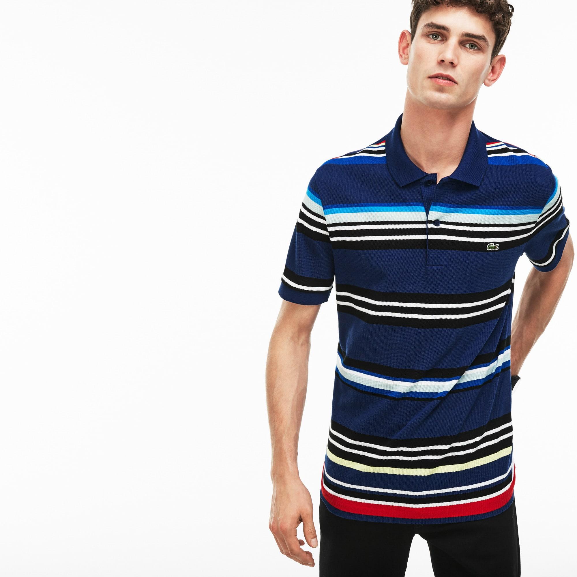 Men's Lacoste Regular Fit Flecked Colored Stripe Piqué Polo