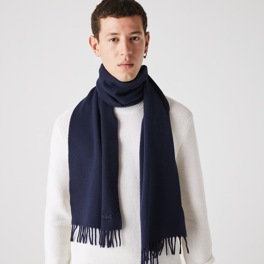 Men's Fringed Rectangular Wool And Cashmere Blend Scarf