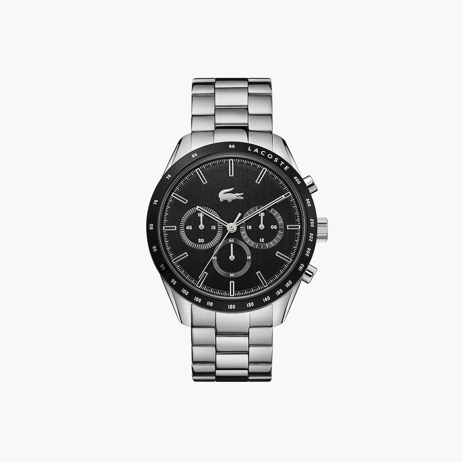 Boston Chrono Watch - Black With Stainless Steel Strap