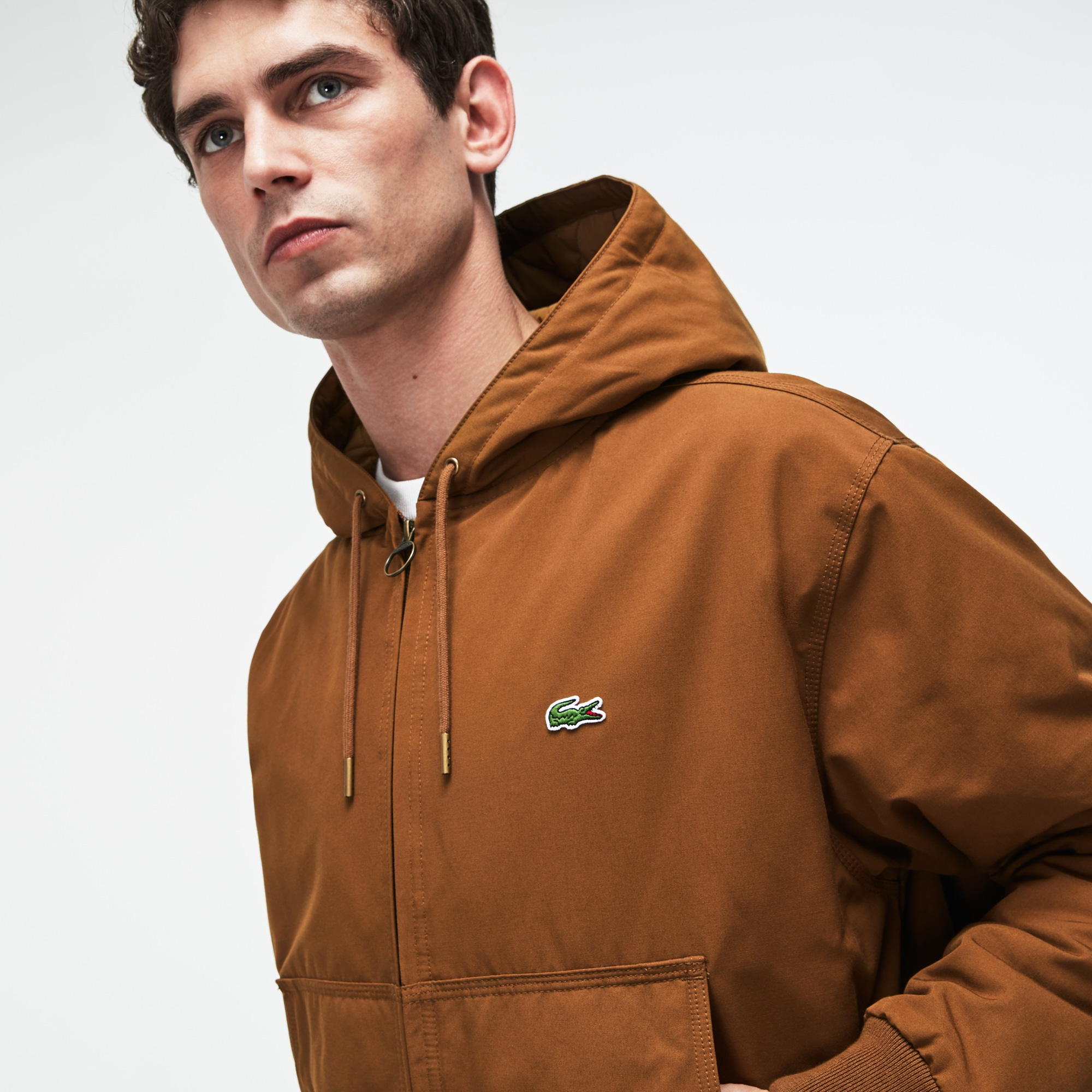 Men's Short Hooded Zippered Quilted Cotton Twill Jacket