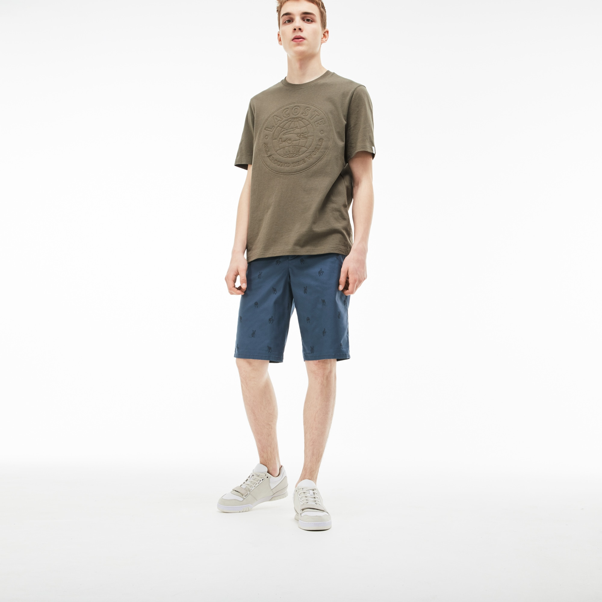 Men's Lacoste LIVE Mini Embroidery Stretch Cotton Twill Bermuda Shorts