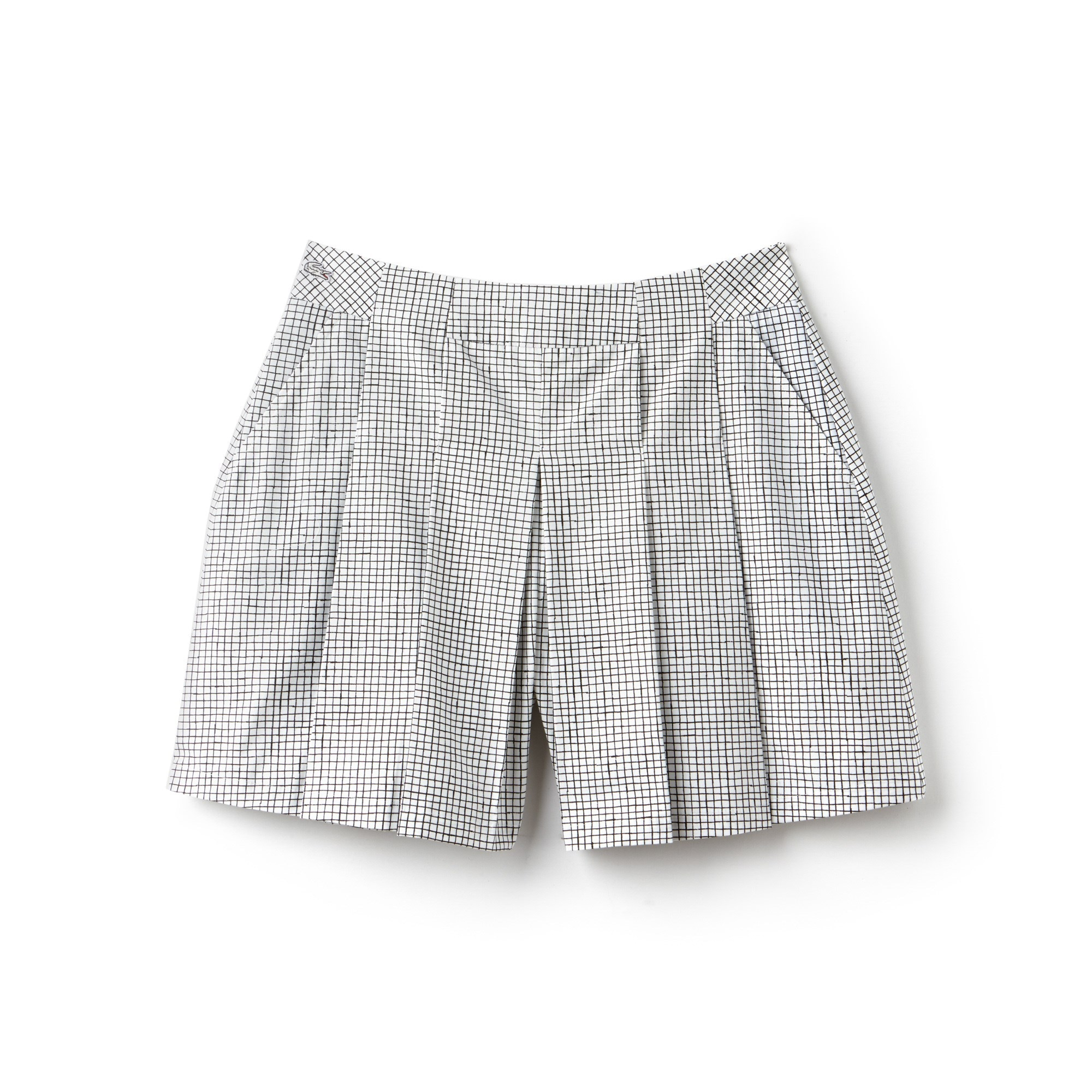 Women's Lacoste LIVE Small Check Cotton Poplin Pleated Shorts