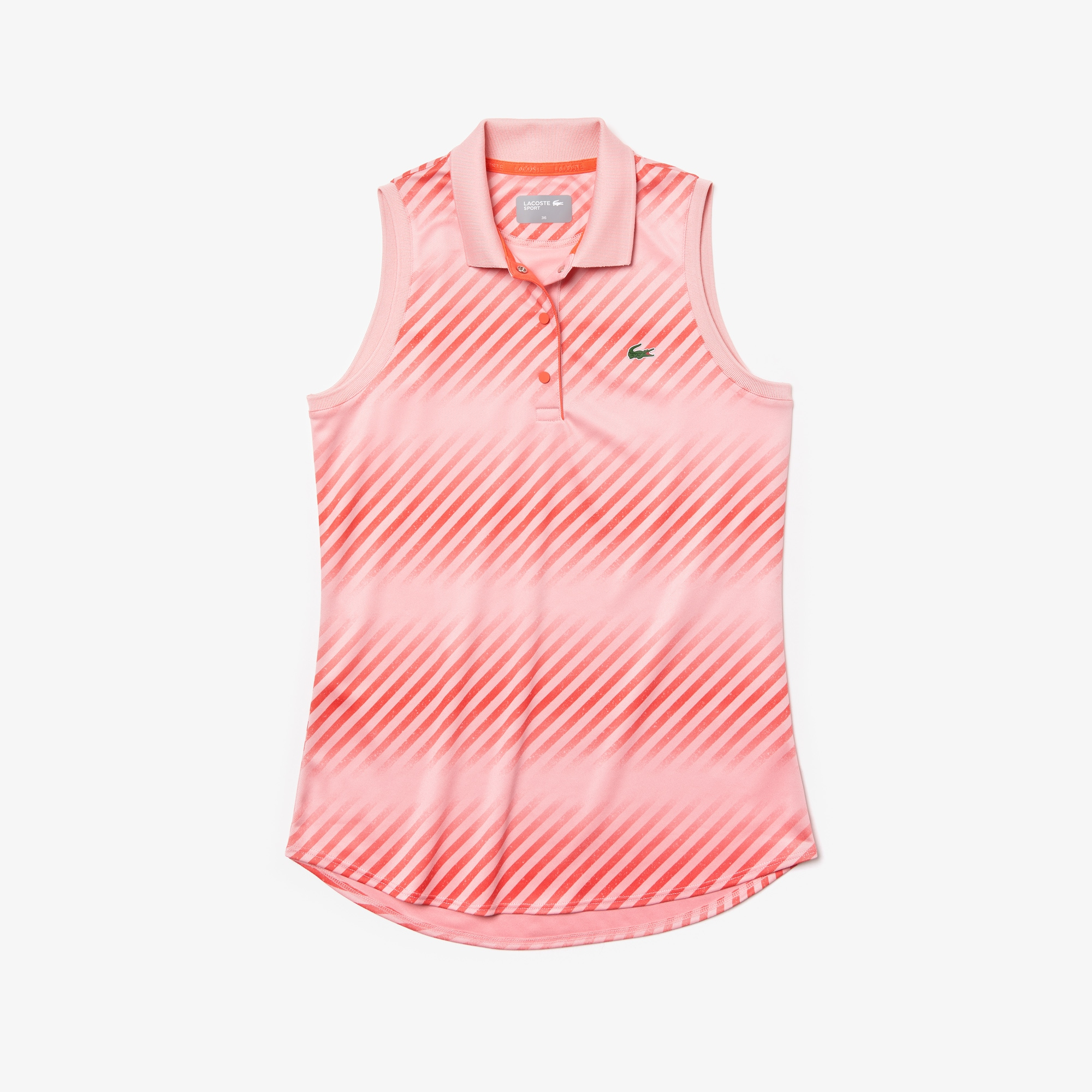 Women's Lacoste SPORT Shaded Striped Breathable Piqué Tennis Polo Shirt