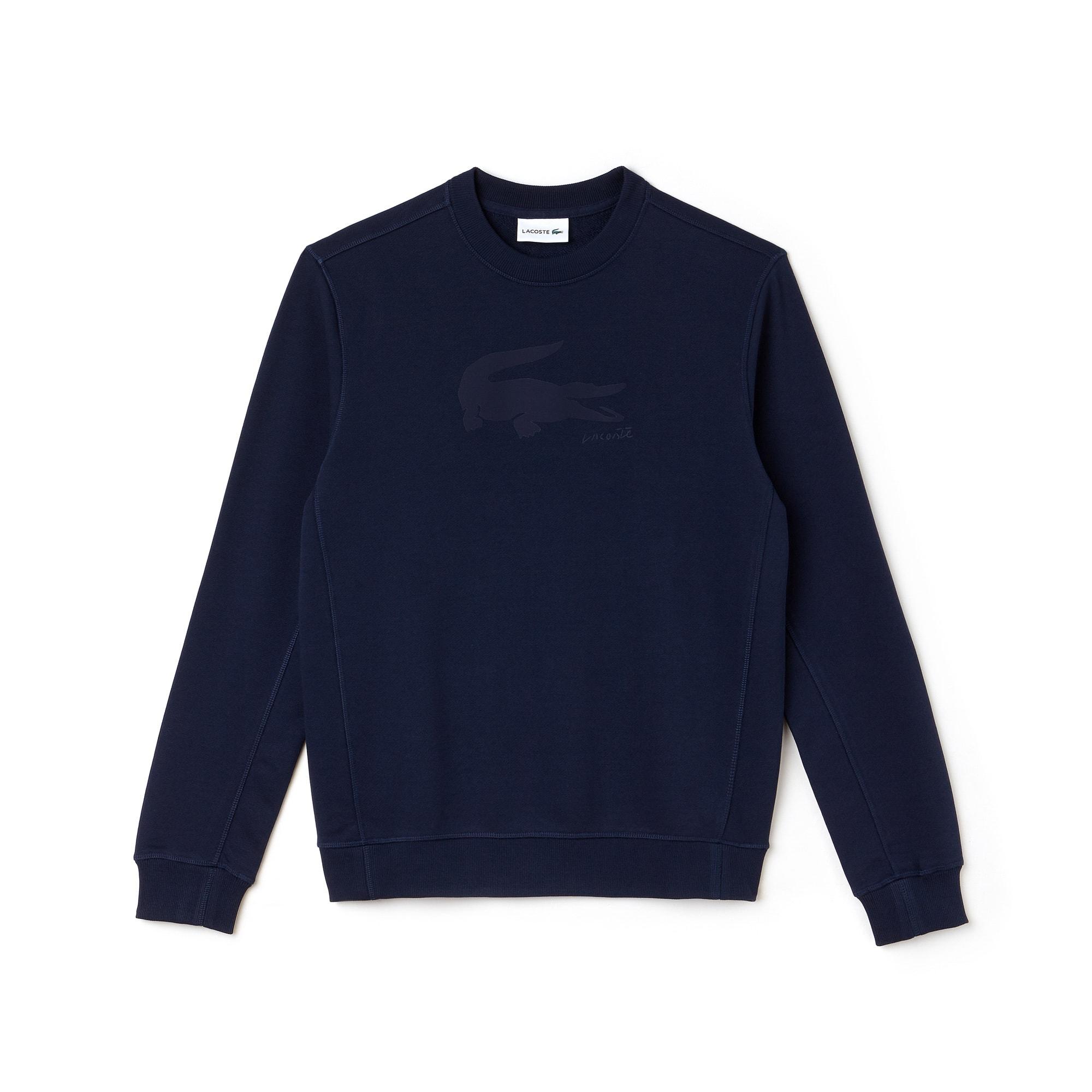 Men's Crew Neck Crocodile Print Fleece Sweatshirt