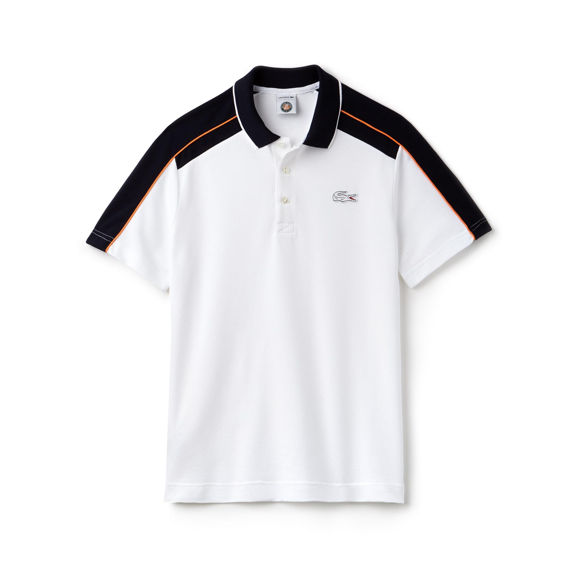 633be5288 Men's Lacoste SPORT Roland Garros Edition Petit Piqué Polo Shirt. £95.00  95.00 GBP. Colour : WHITE/NAVY BLUE-APRICOT